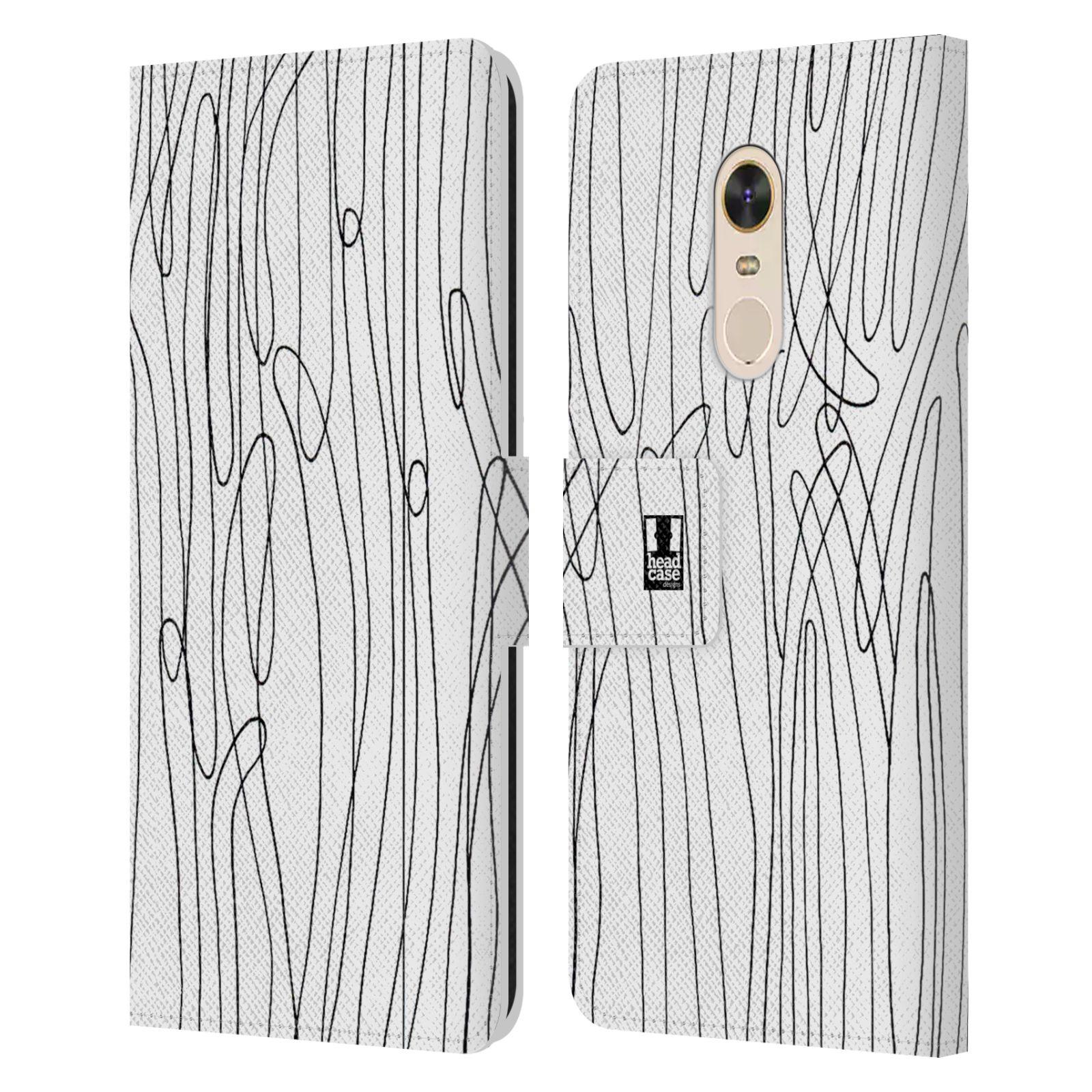 HEAD CASE Flipové pouzdro pro mobil Xiaomi Redmi Note 5 kresba a čmáranice vlny černá a bílá