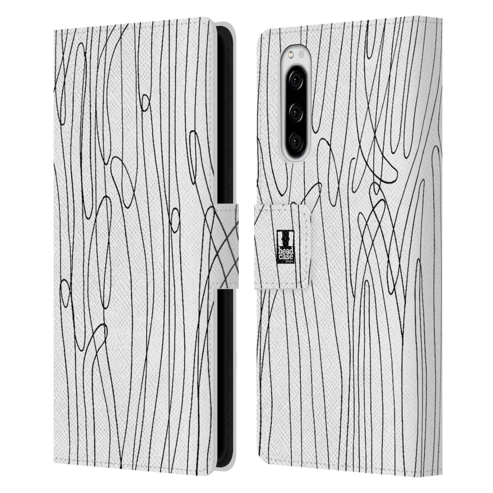 Pouzdro na mobil Sony Xperia 5 kresba a čmáranice vlny černá a bílá