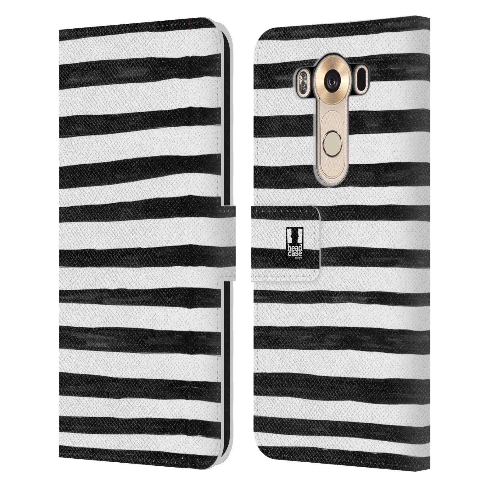 HEAD CASE Flipové pouzdro pro mobil LG V10 kresba a čmáranice pruhy černá a bílá