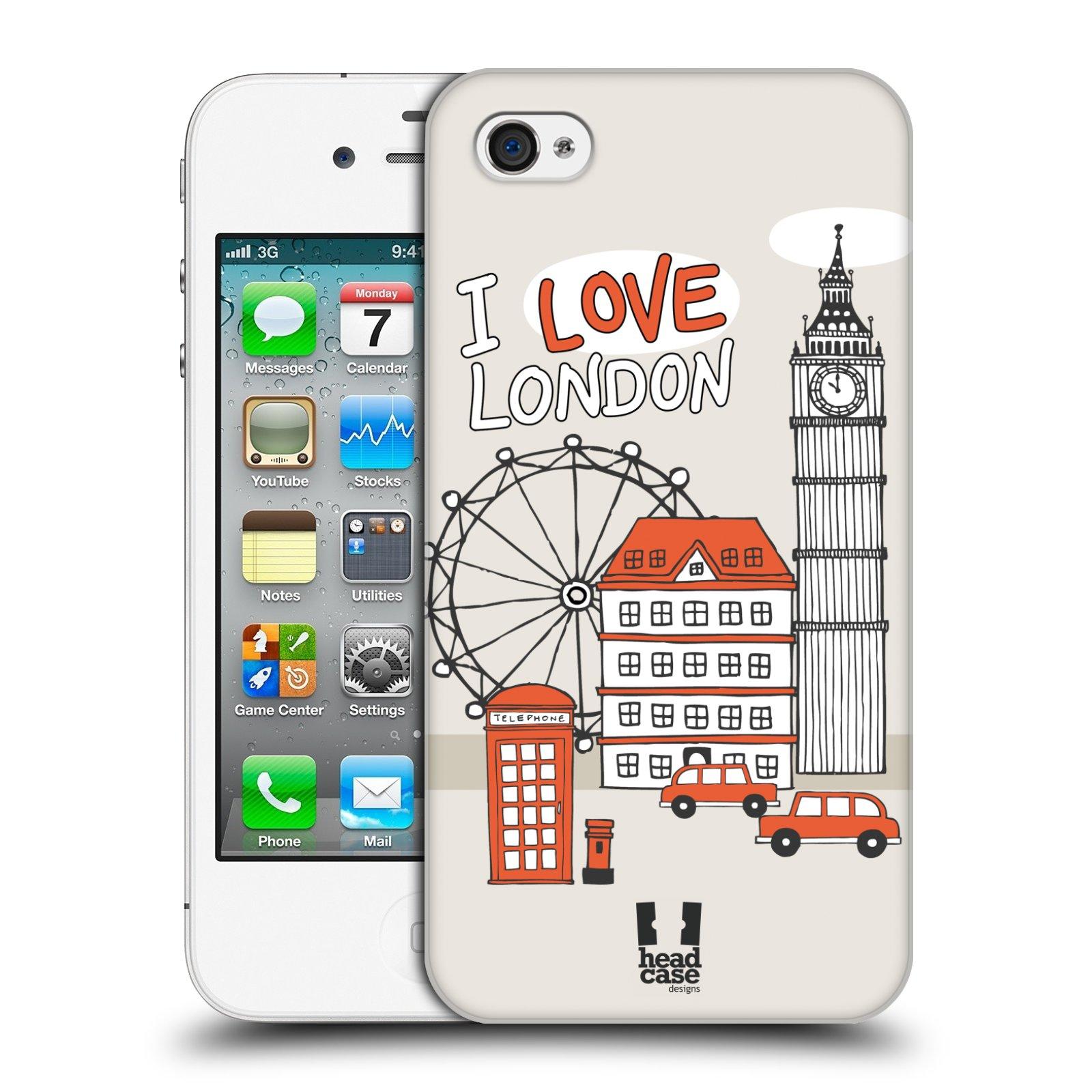 HEAD CASE plastový obal na mobil Apple Iphone 4/4S vzor Kreslená městečka ČERVENÁ, Anglie, Londýn, I LOVE LONDON