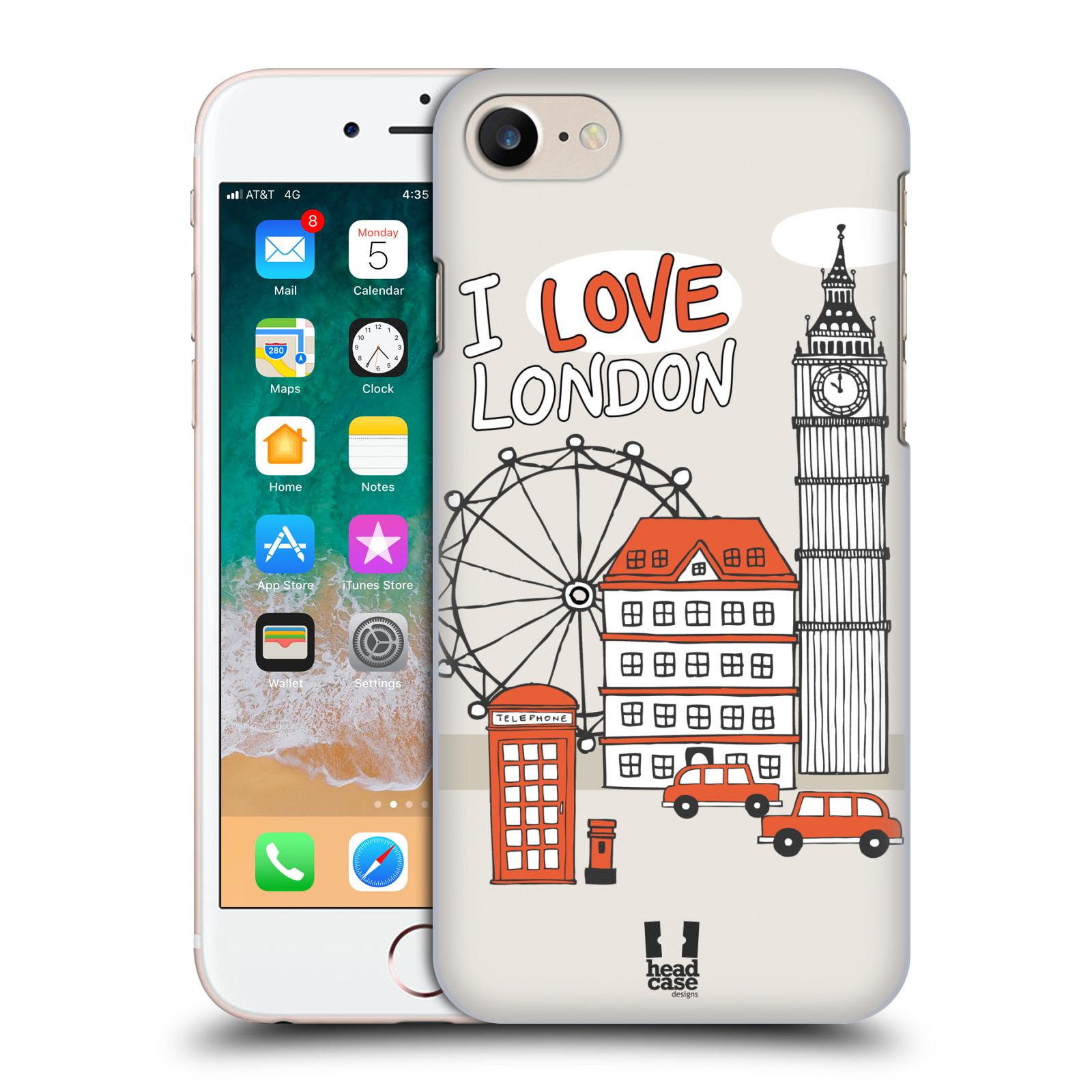 HEAD CASE plastový obal na mobil Apple Iphone 7 vzor Kreslená městečka ČERVENÁ, Anglie, Londýn, I LOVE LONDON