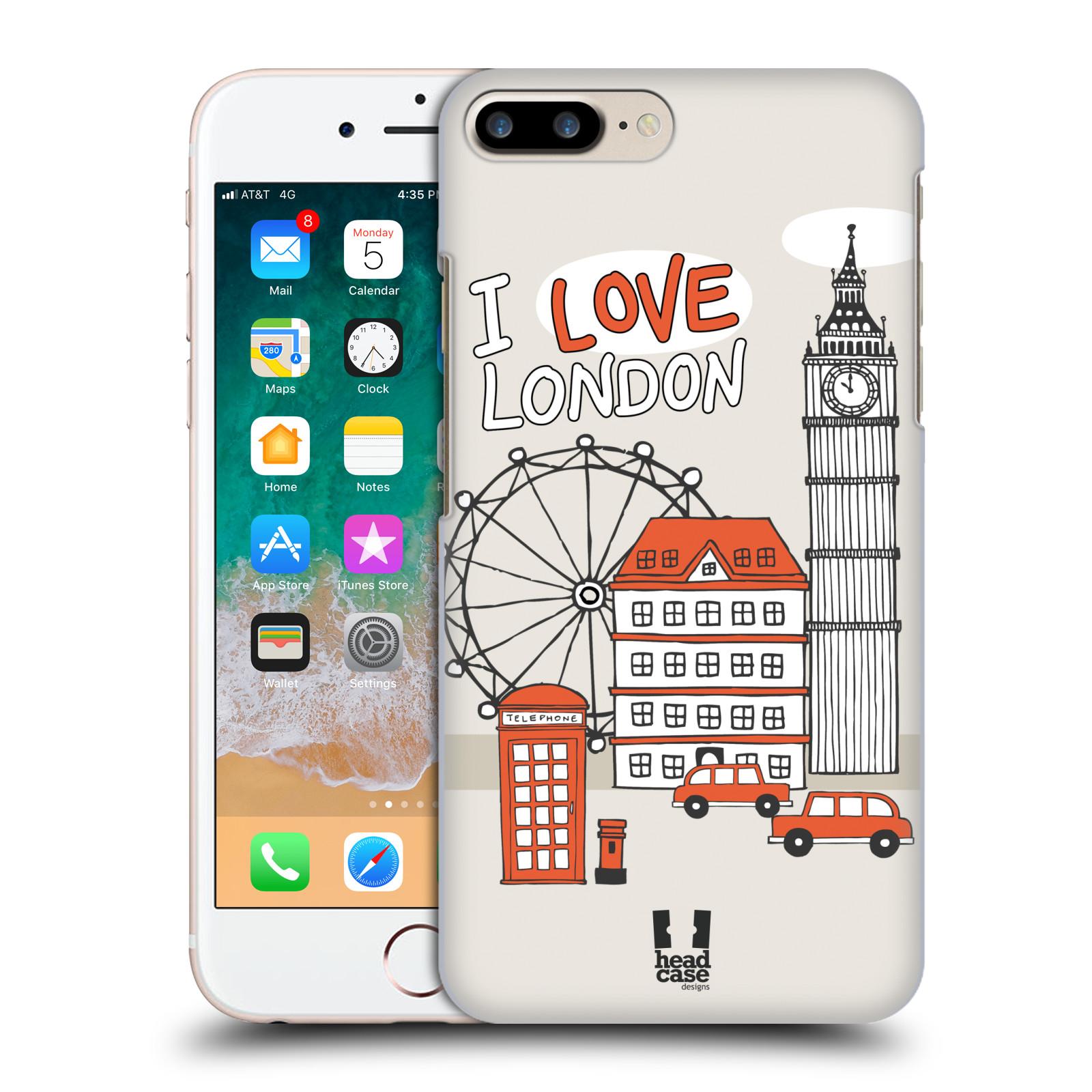 HEAD CASE plastový obal na mobil Apple Iphone 7 PLUS vzor Kreslená městečka ČERVENÁ, Anglie, Londýn, I LOVE LONDON