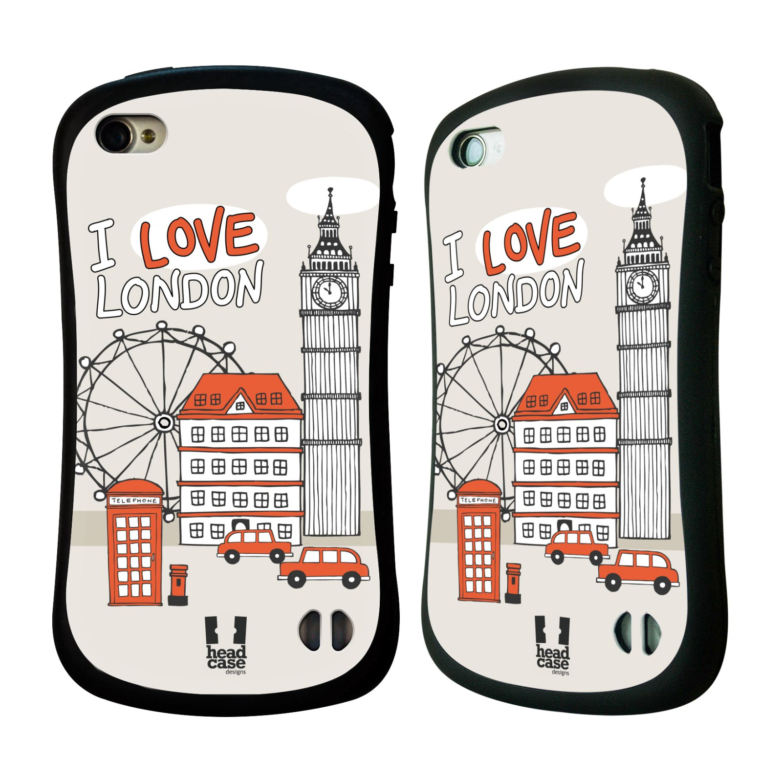 HEAD CASE silikon/plast odolný obal na mobil Apple Iphone 4/4S vzor Kreslená městečka ČERVENÁ, Anglie, Londýn, I LOVE LONDON