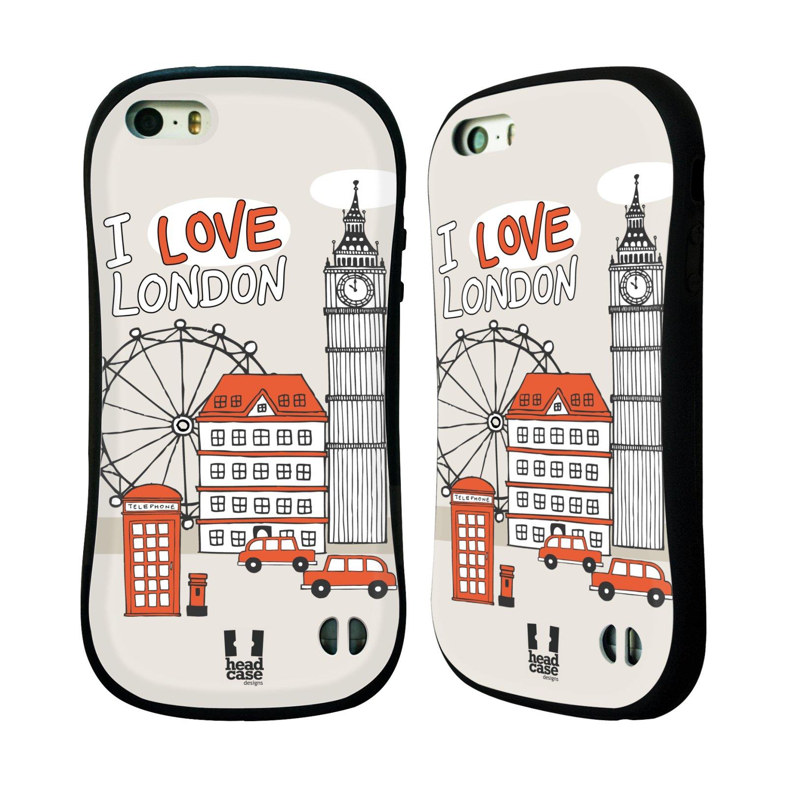 HEAD CASE silikon/plast odolný obal na mobil Apple Iphone 5/5S vzor Kreslená městečka ČERVENÁ, Anglie, Londýn, I LOVE LONDON