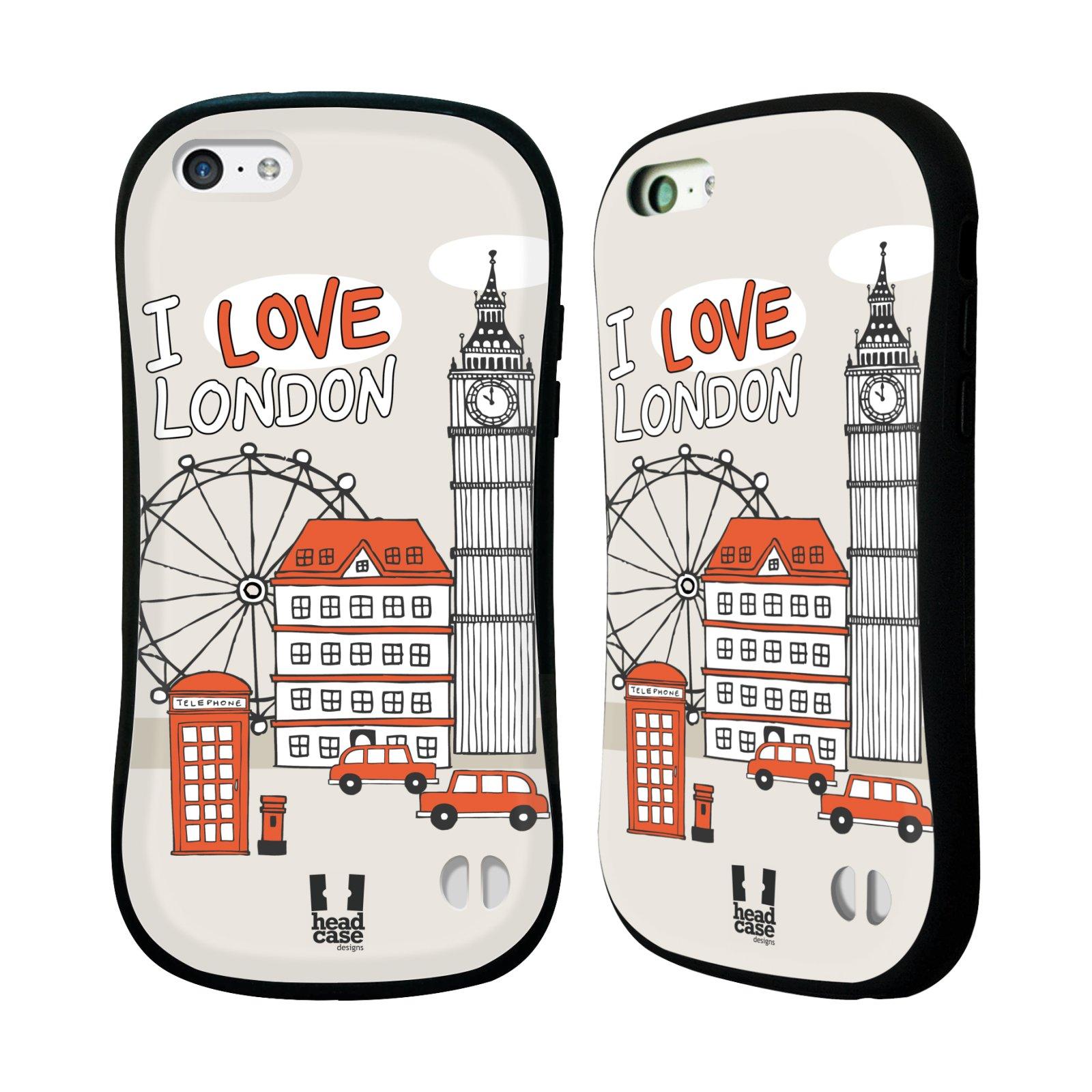 HEAD CASE silikon/plast odolný obal na mobil Apple Iphone 5C vzor Kreslená městečka ČERVENÁ, Anglie, Londýn, I LOVE LONDON