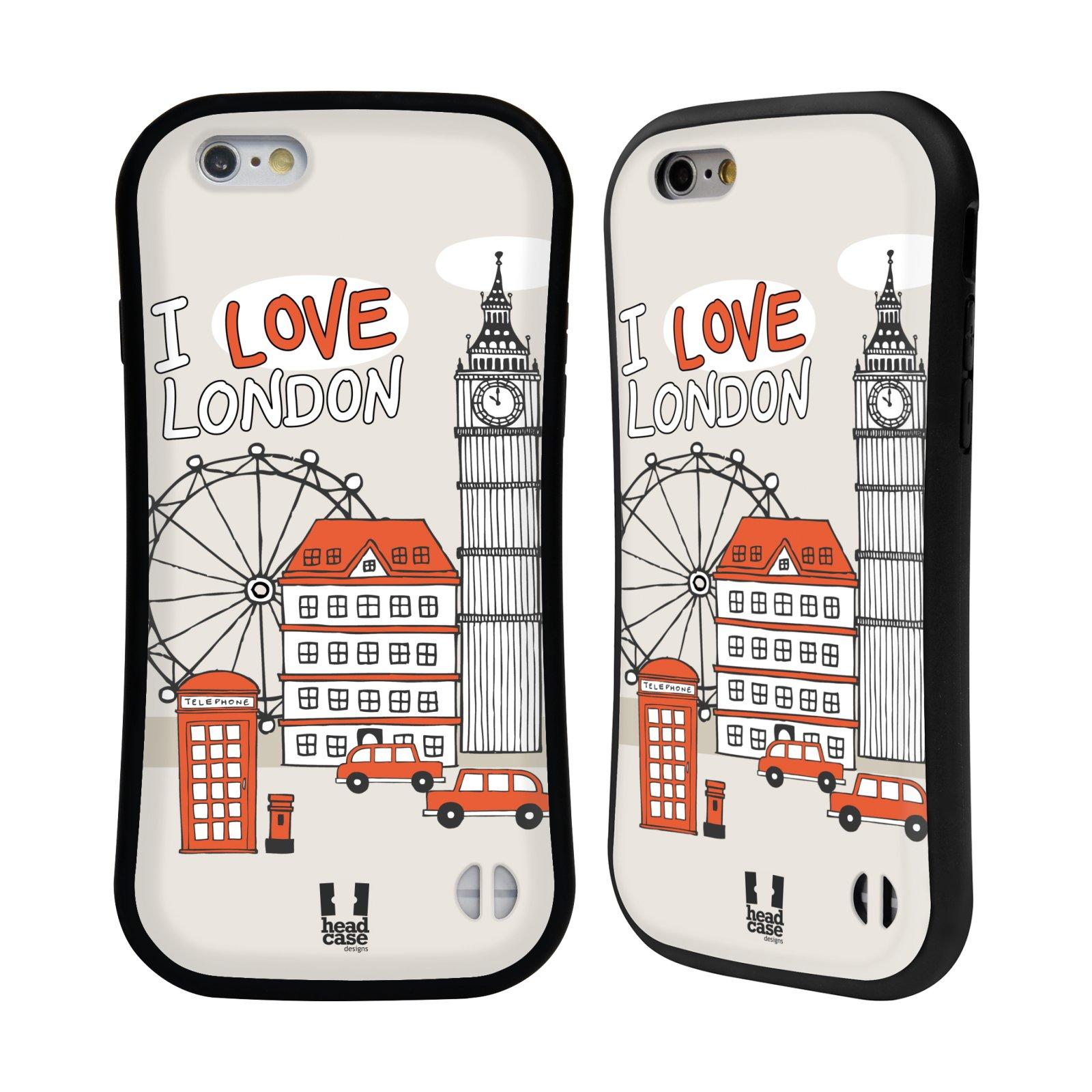 HEAD CASE silikon/plast odolný obal na mobil Apple Iphone 6/6S vzor Kreslená městečka ČERVENÁ, Anglie, Londýn, I LOVE LONDON