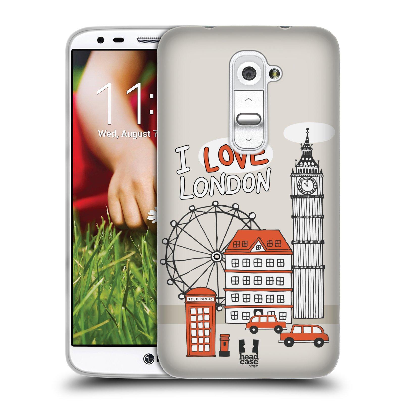 HEAD CASE silikonový obal na mobil LG G2 vzor Kreslená městečka ČERVENÁ, Anglie, Londýn, I LOVE LONDON