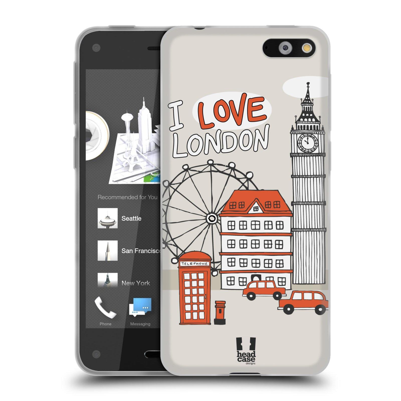 HEAD CASE silikonový obal na mobil AMAZON Fire Phone vzor Kreslená městečka ČERVENÁ, Anglie, Londýn, I LOVE LONDON