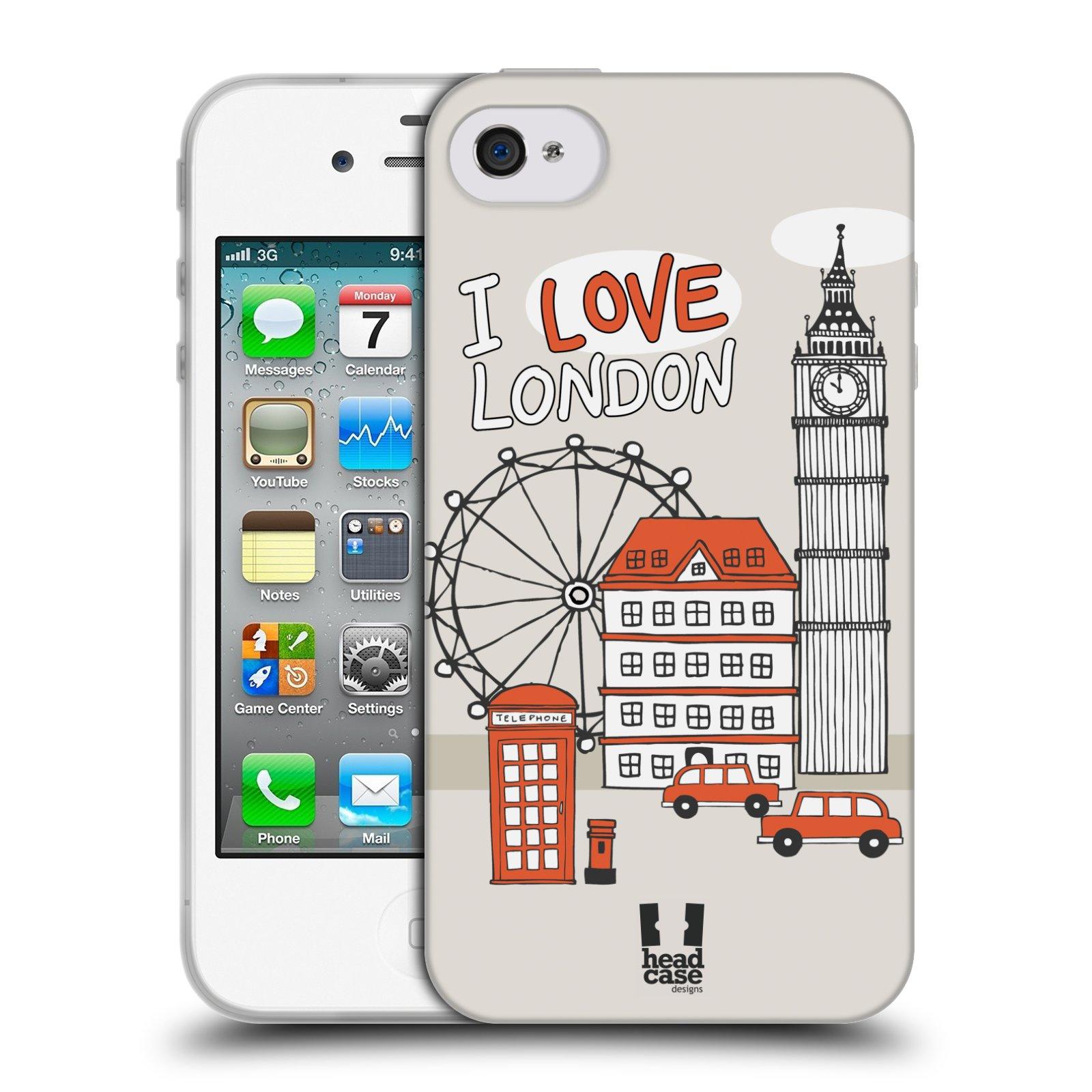 HEAD CASE silikonový obal na mobil Apple Iphone 4/4S vzor Kreslená městečka ČERVENÁ, Anglie, Londýn, I LOVE LONDON
