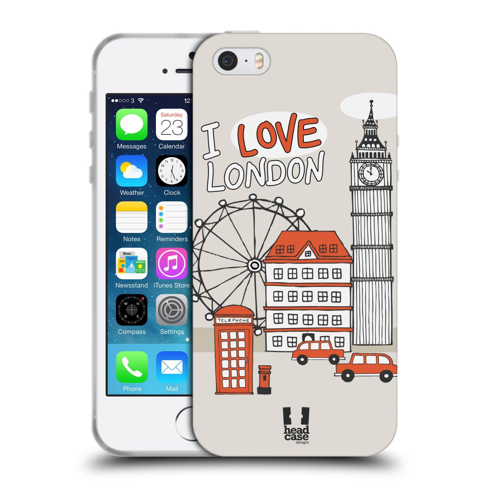 HEAD CASE silikonový obal na mobil Apple Iphone 5/5S vzor Kreslená městečka ČERVENÁ, Anglie, Londýn, I LOVE LONDON