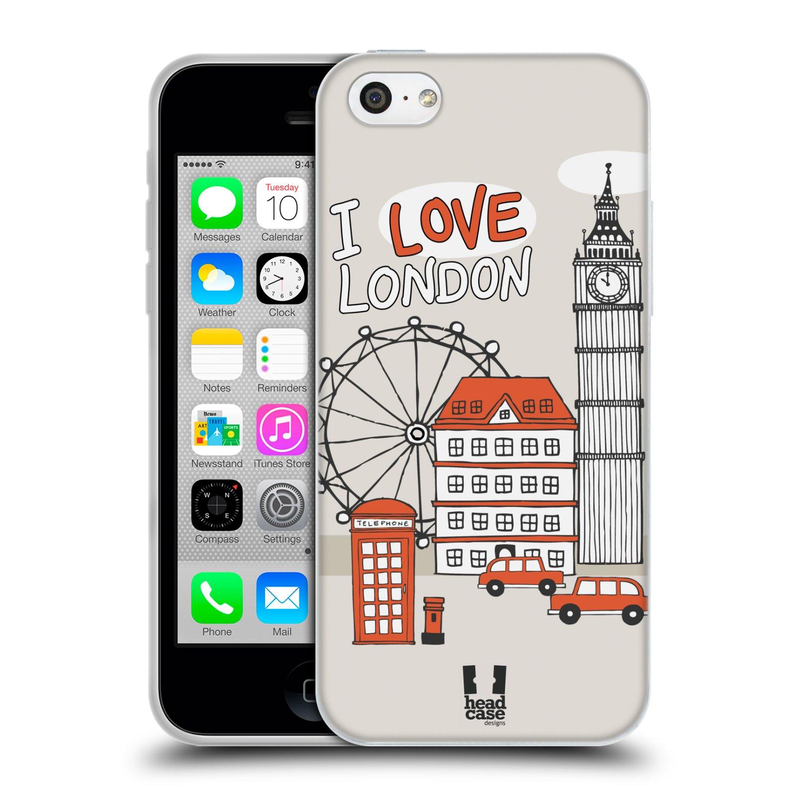 HEAD CASE silikonový obal na mobil Apple Iphone 5C vzor Kreslená městečka ČERVENÁ, Anglie, Londýn, I LOVE LONDON