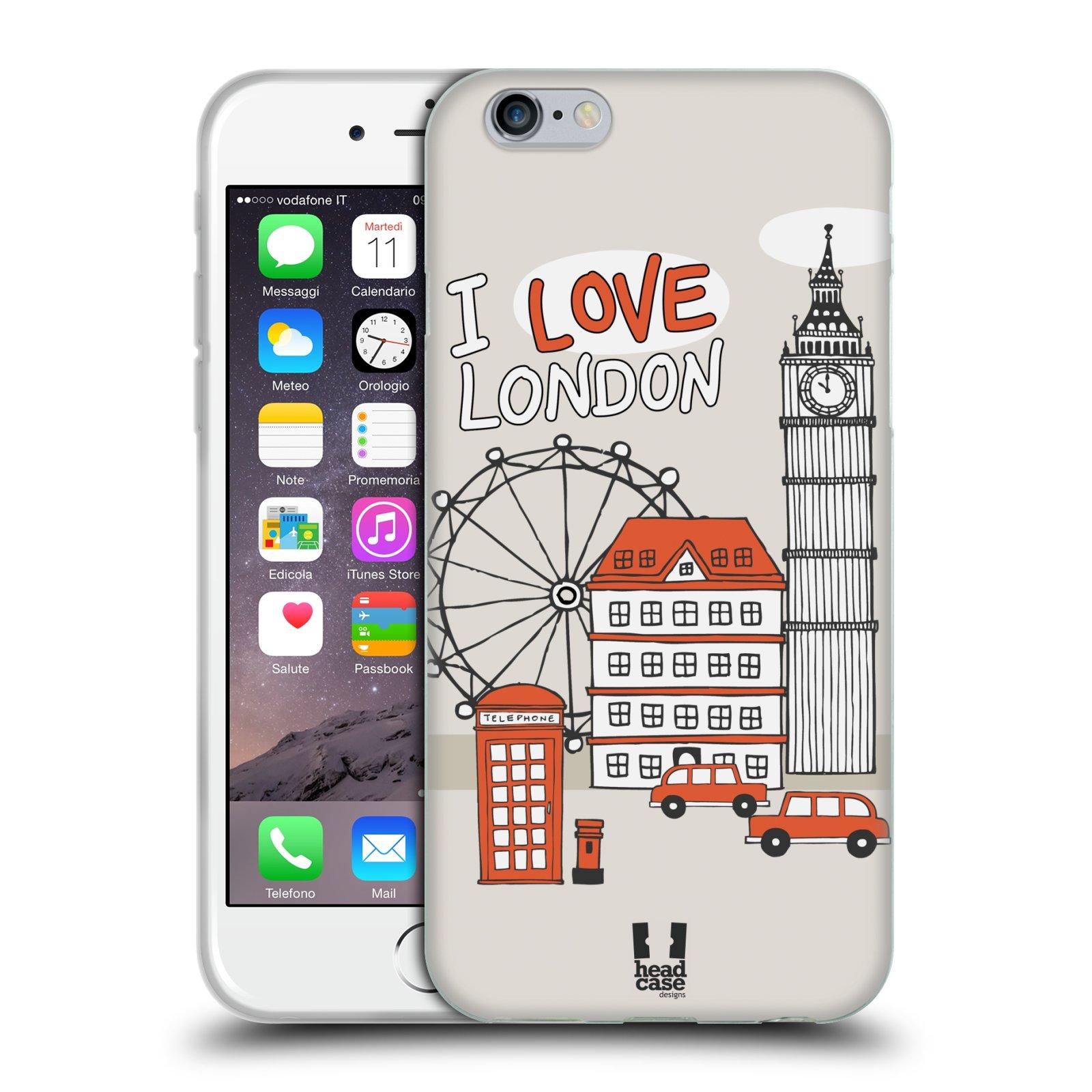 HEAD CASE silikonový obal na mobil Apple Iphone 6/6S vzor Kreslená městečka ČERVENÁ, Anglie, Londýn, I LOVE LONDON