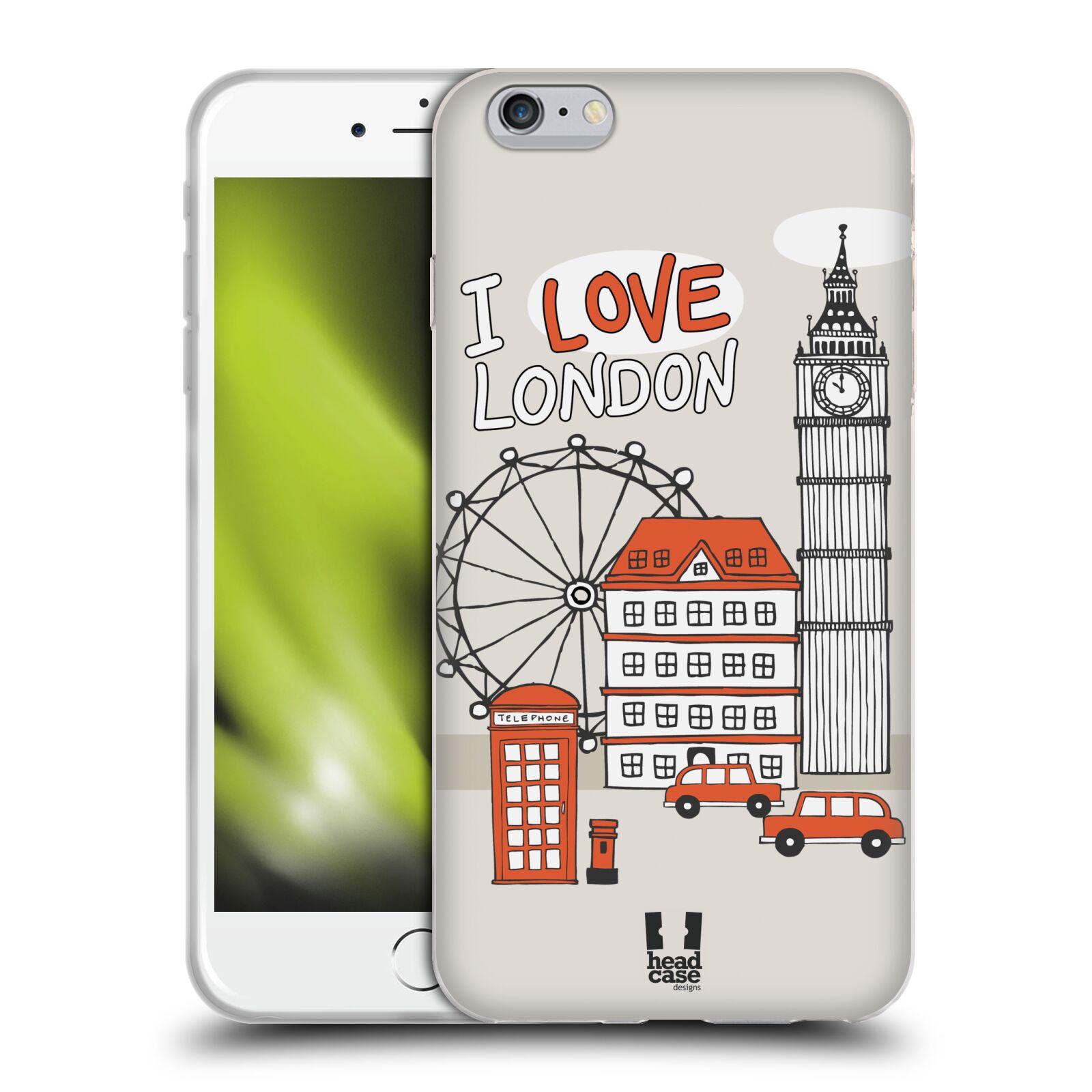 HEAD CASE silikonový obal na mobil Apple Iphone 6 PLUS/ 6S PLUS vzor Kreslená městečka ČERVENÁ, Anglie, Londýn, I LOVE LONDON