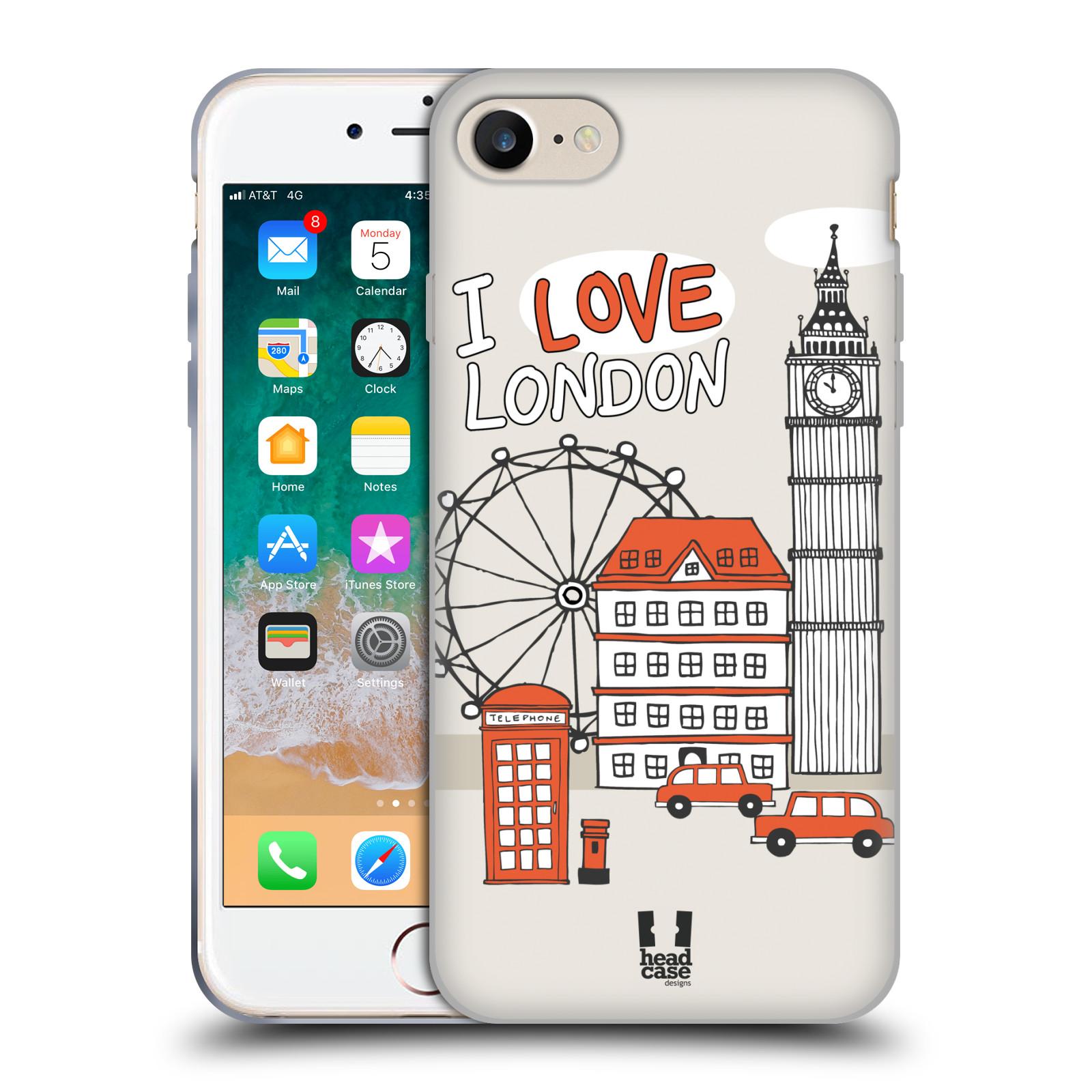 HEAD CASE silikonový obal na mobil Apple Iphone 7 vzor Kreslená městečka ČERVENÁ, Anglie, Londýn, I LOVE LONDON