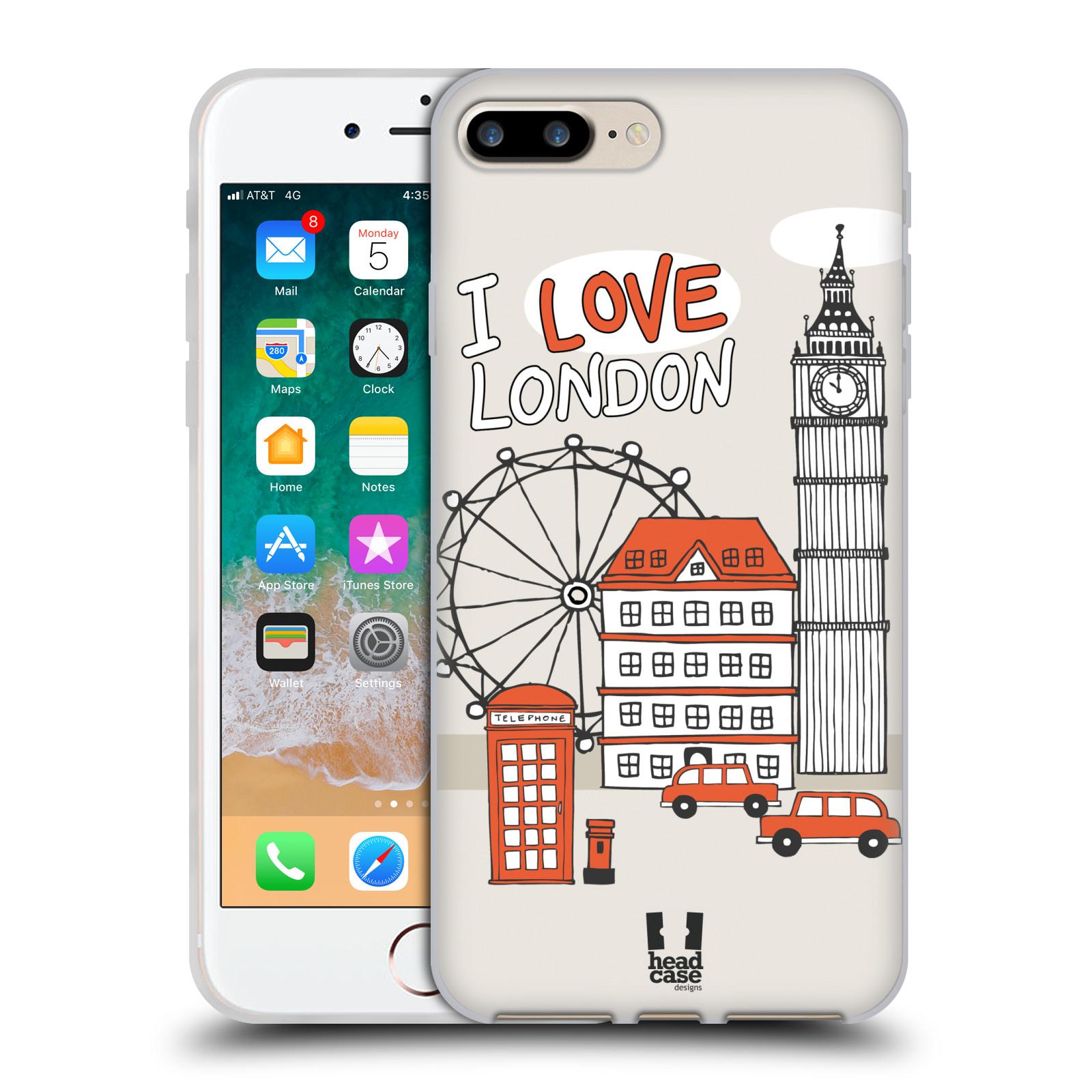 HEAD CASE silikonový obal na mobil Apple Iphone 7 PLUS vzor Kreslená městečka ČERVENÁ, Anglie, Londýn, I LOVE LONDON