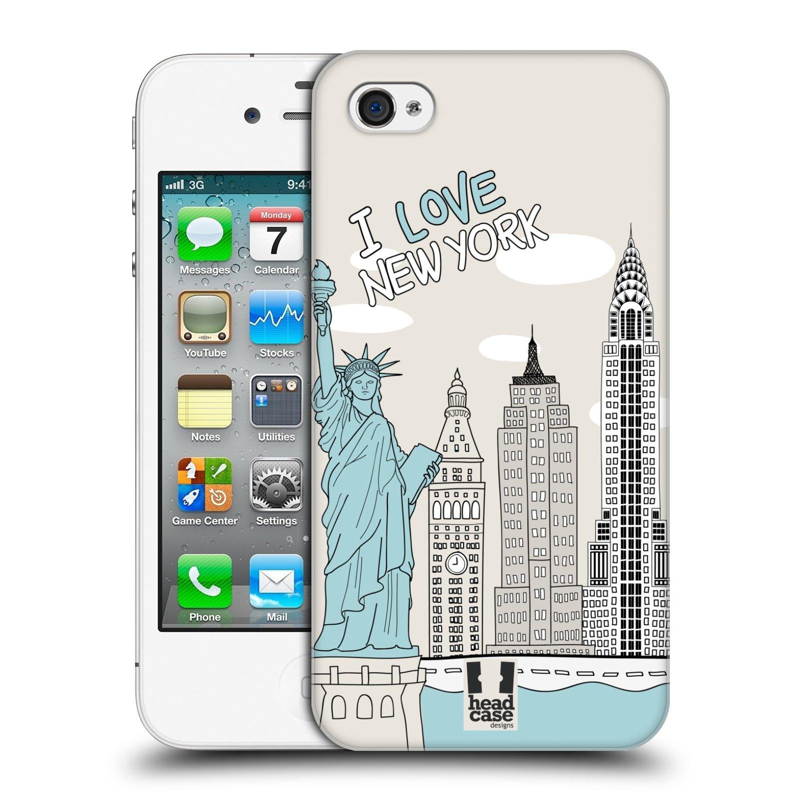 HEAD CASE plastový obal na mobil Apple Iphone 4/4S vzor Kreslená městečka MODRÁ, USA, New York, I LOVE NEW YORK