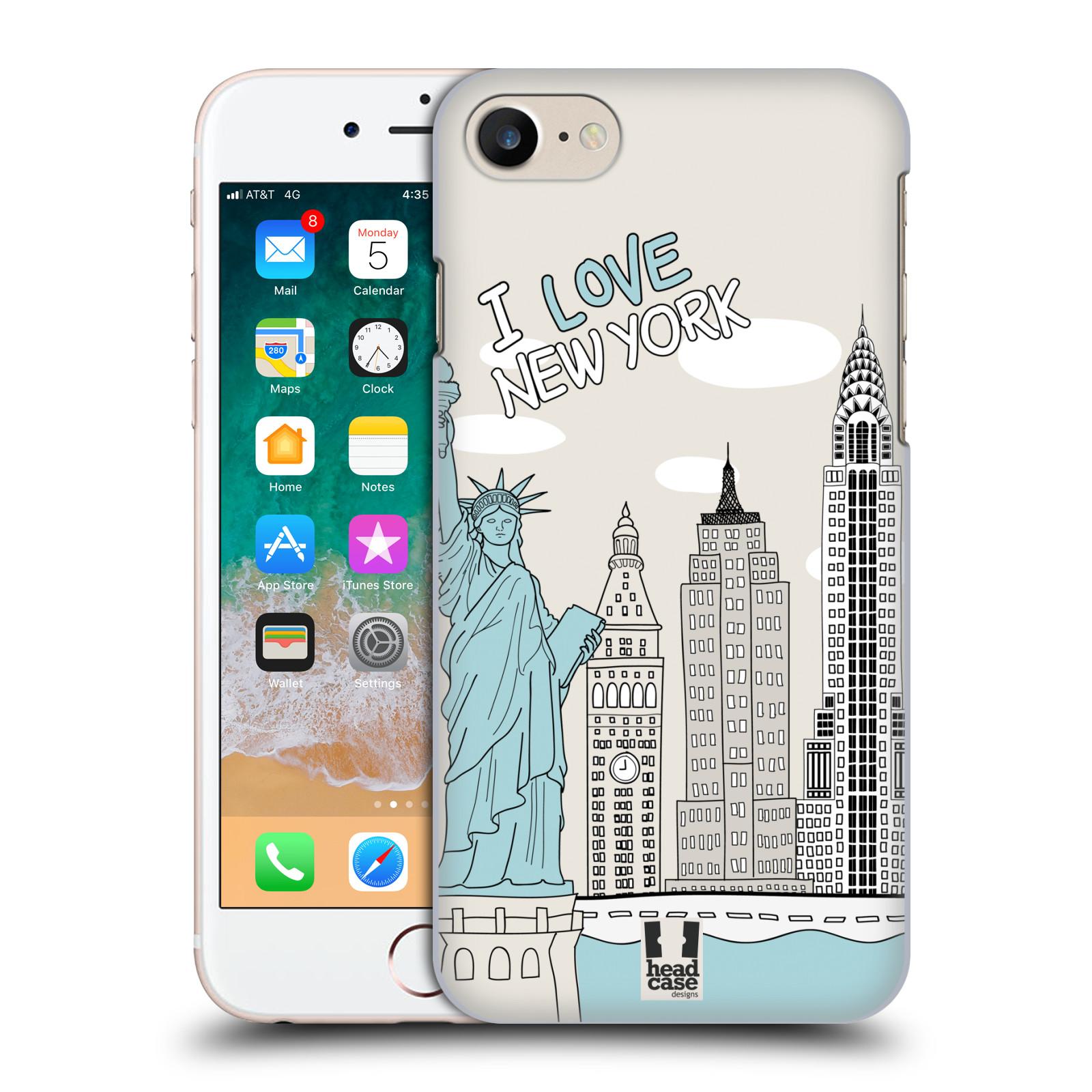 HEAD CASE plastový obal na mobil Apple Iphone 7 vzor Kreslená městečka MODRÁ, USA, New York, I LOVE NEW YORK
