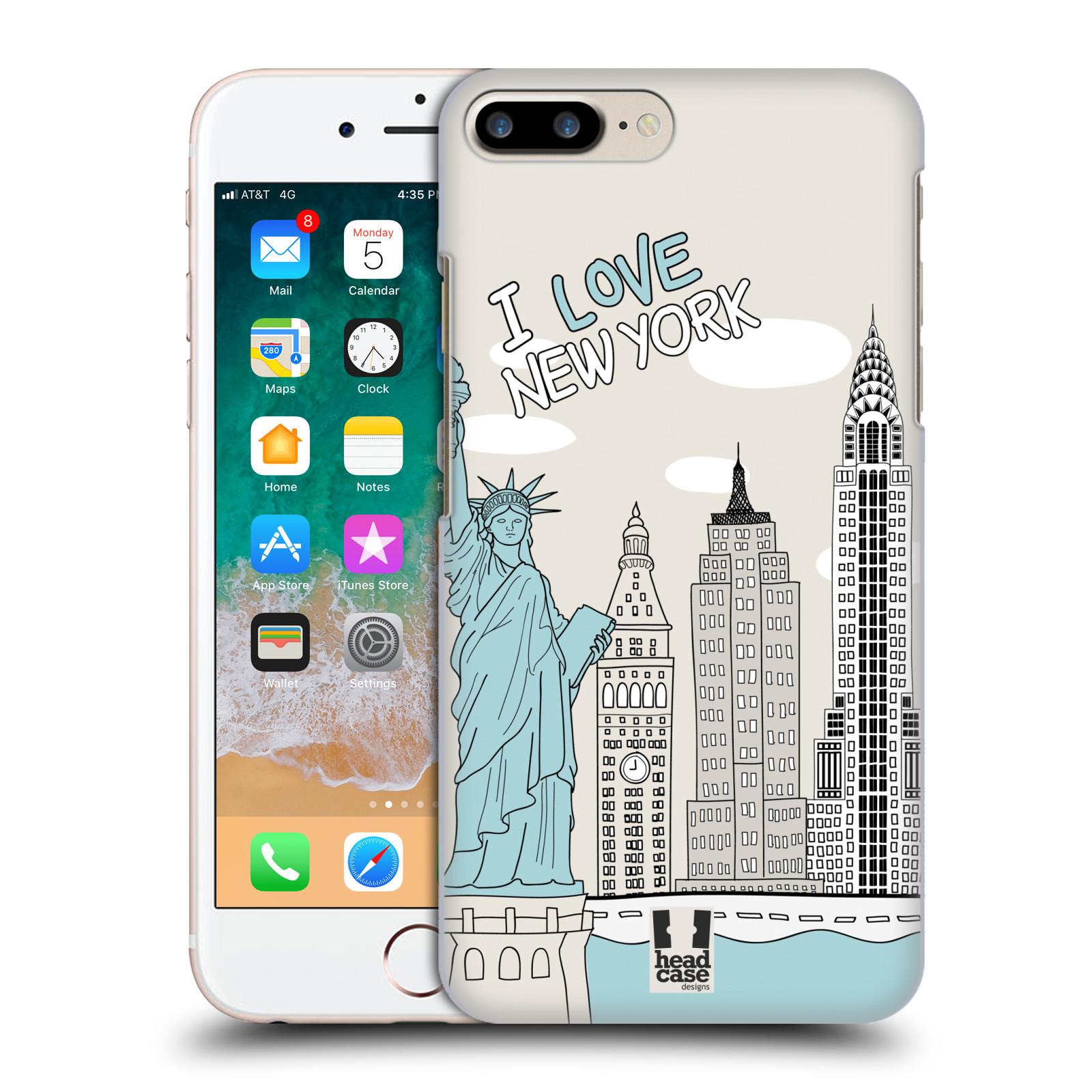 HEAD CASE plastový obal na mobil Apple Iphone 7 PLUS vzor Kreslená městečka MODRÁ, USA, New York, I LOVE NEW YORK