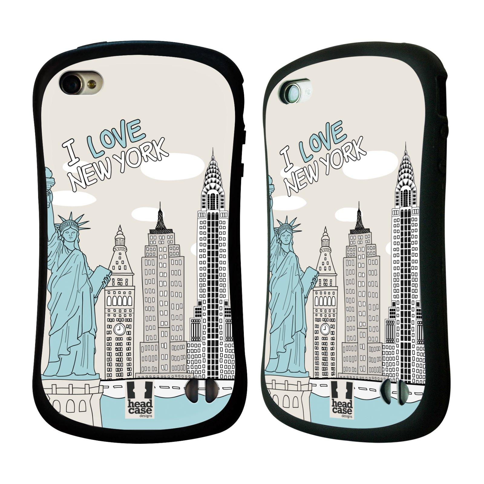 HEAD CASE silikon/plast odolný obal na mobil Apple Iphone 4/4S vzor Kreslená městečka MODRÁ, USA, New York, I LOVE NEW YORK