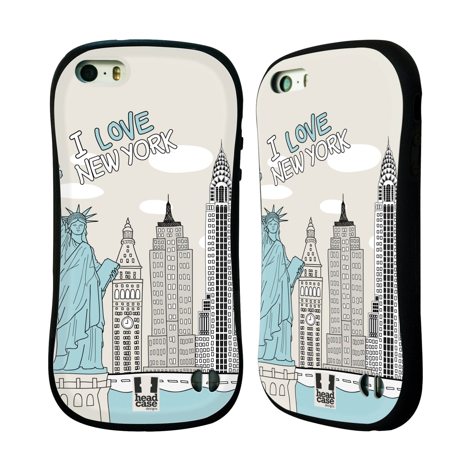 HEAD CASE silikon/plast odolný obal na mobil Apple Iphone 5/5S vzor Kreslená městečka MODRÁ, USA, New York, I LOVE NEW YORK