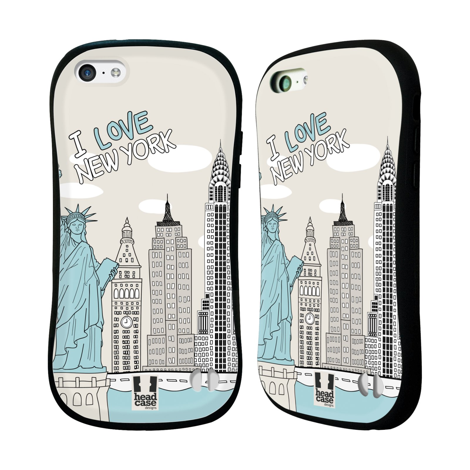 HEAD CASE silikon/plast odolný obal na mobil Apple Iphone 5C vzor Kreslená městečka MODRÁ, USA, New York, I LOVE NEW YORK