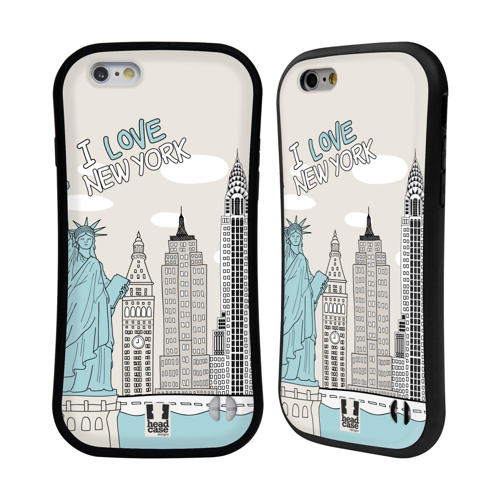 HEAD CASE silikon/plast odolný obal na mobil Apple Iphone 6/6S vzor Kreslená městečka MODRÁ, USA, New York, I LOVE NEW YORK