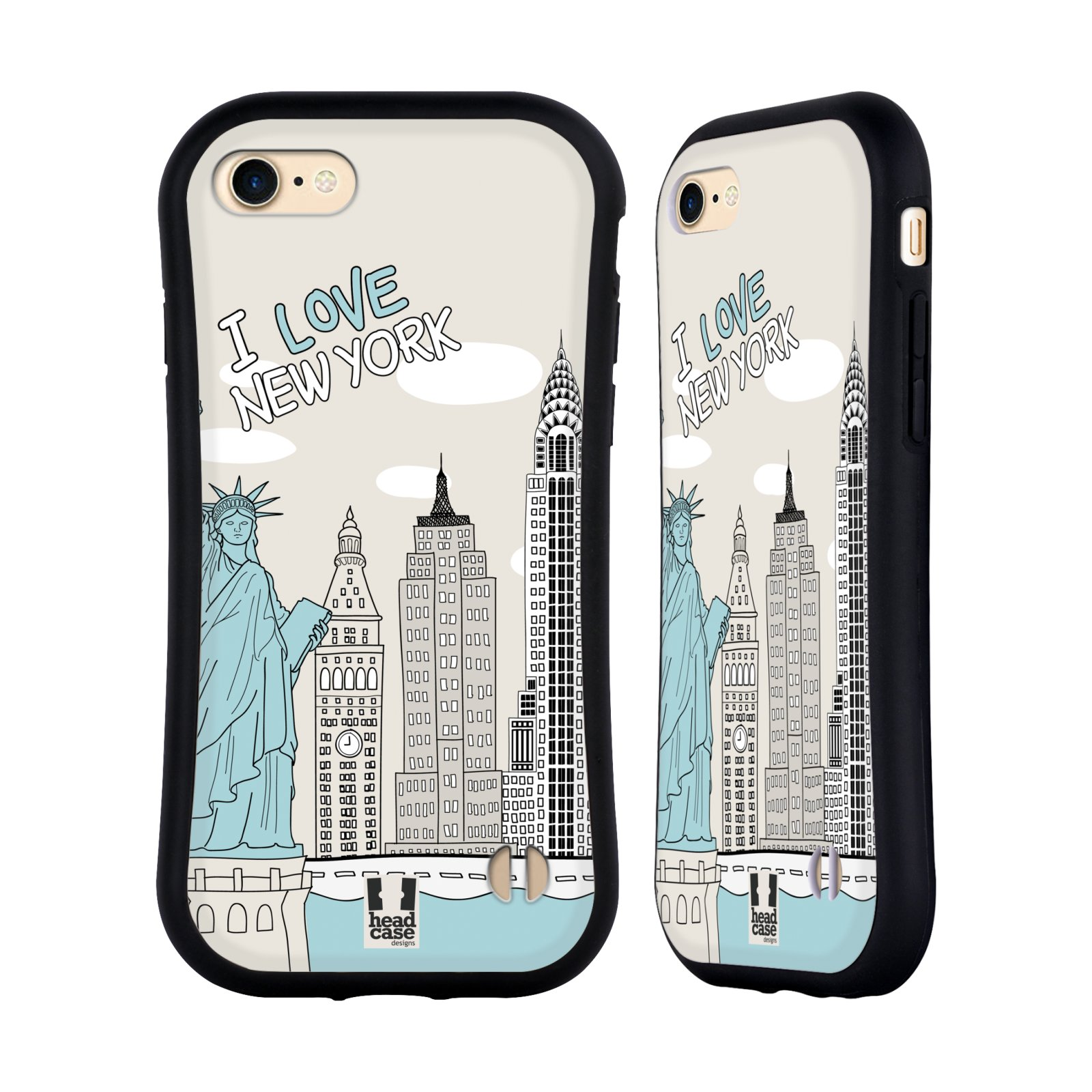 HEAD CASE silikon/plast odolný obal na mobil Apple Iphone 7 vzor Kreslená městečka MODRÁ, USA, New York, I LOVE NEW YORK