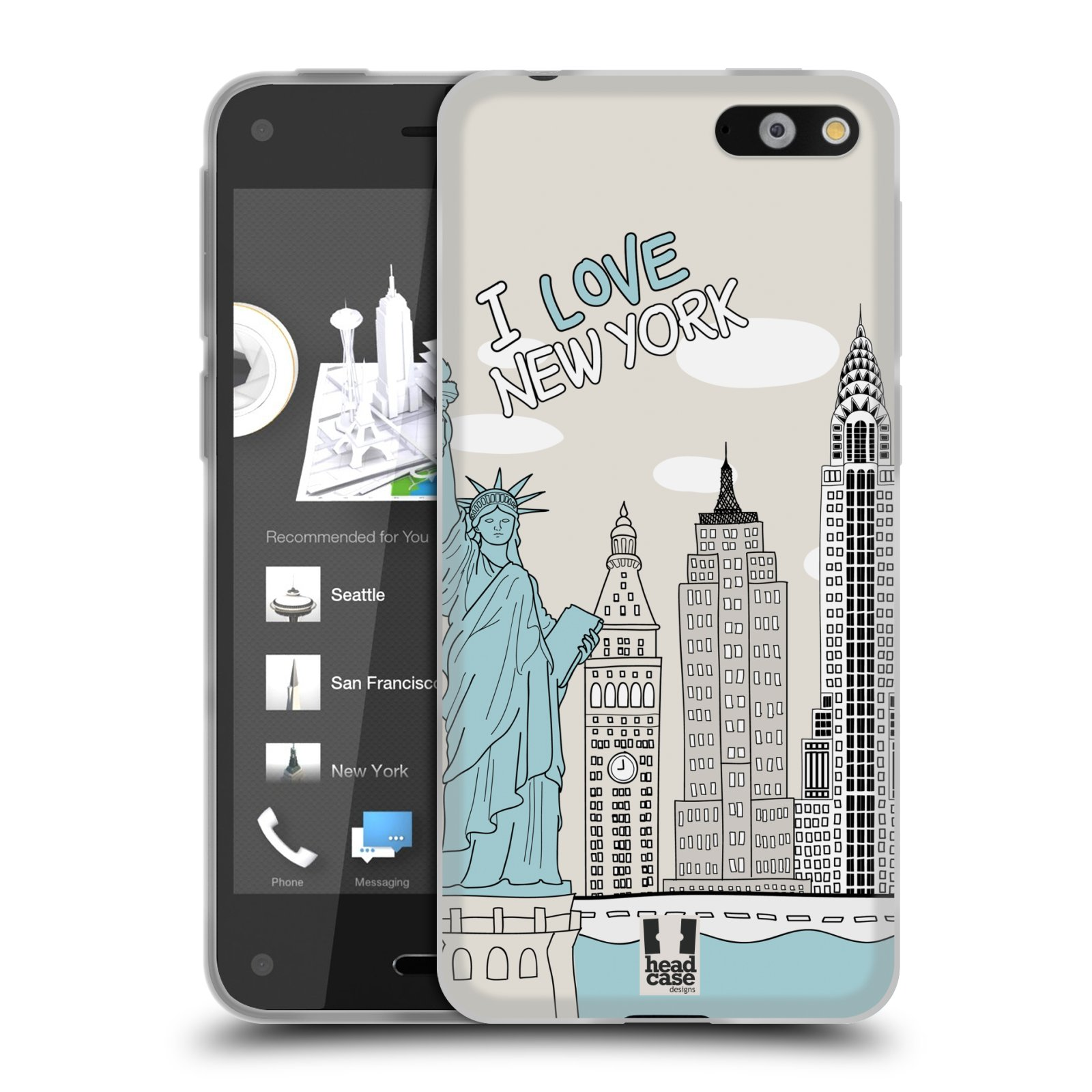 HEAD CASE silikonový obal na mobil AMAZON Fire Phone vzor Kreslená městečka MODRÁ, USA, New York, I LOVE NEW YORK