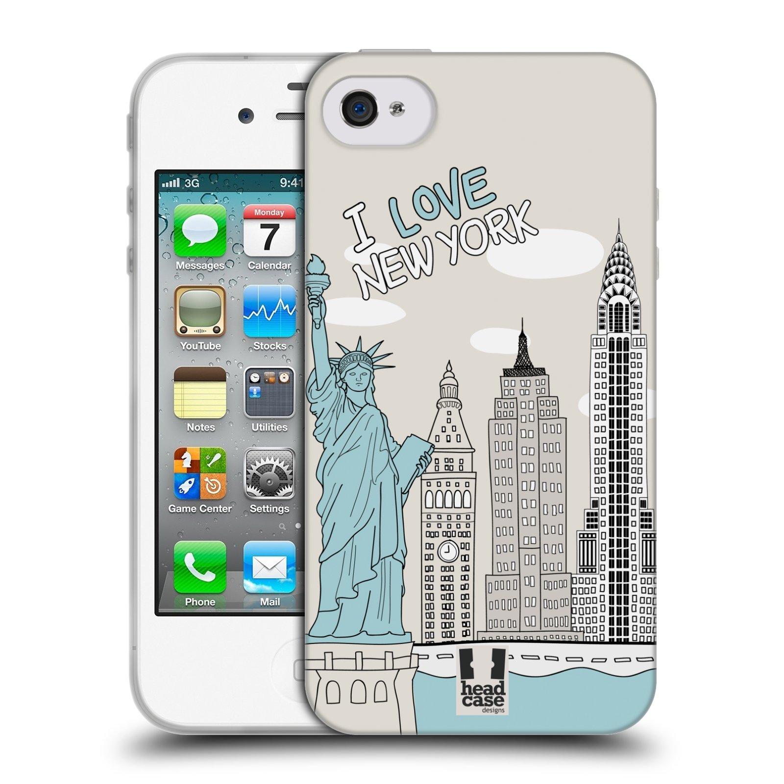 HEAD CASE silikonový obal na mobil Apple Iphone 4/4S vzor Kreslená městečka MODRÁ, USA, New York, I LOVE NEW YORK