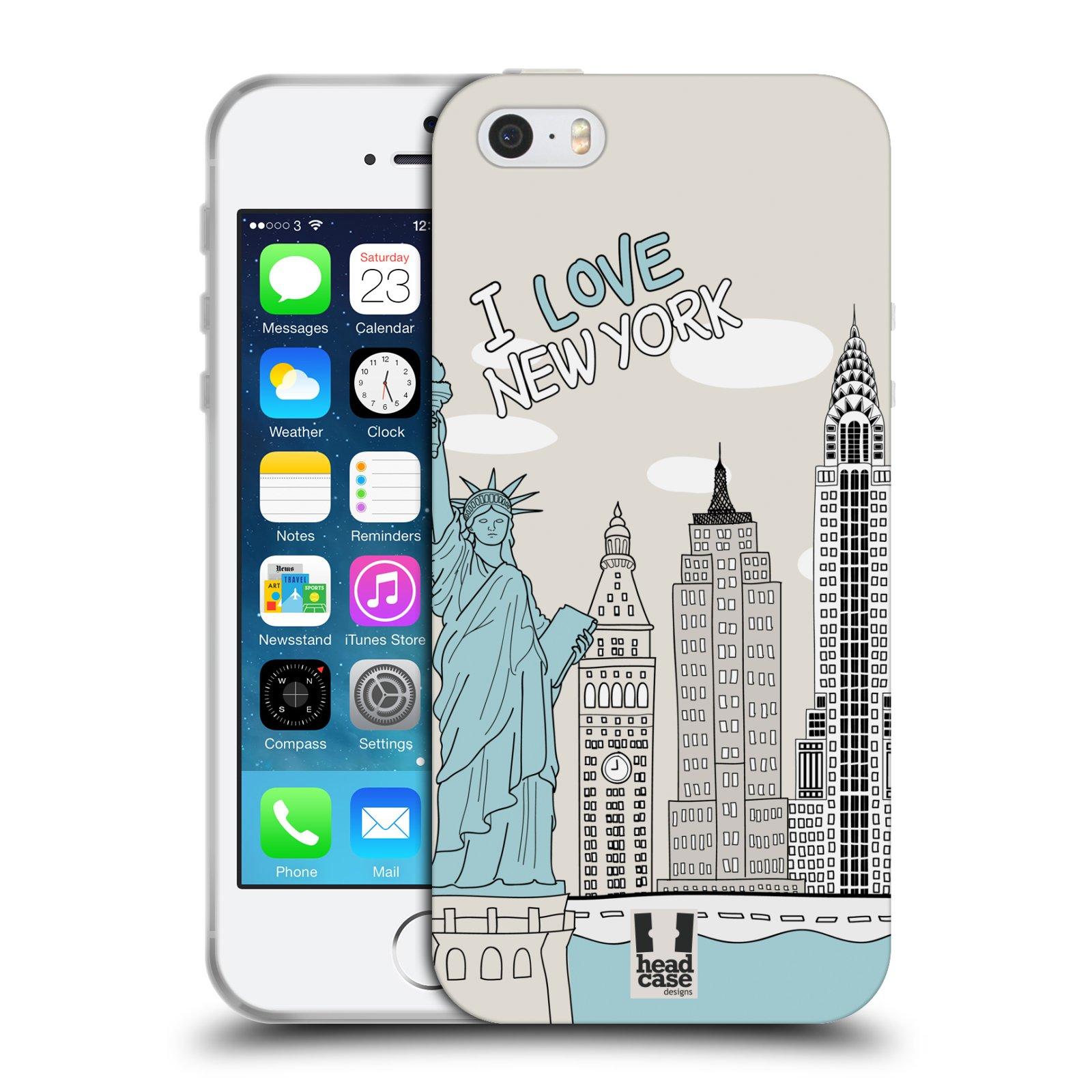 HEAD CASE silikonový obal na mobil Apple Iphone 5/5S vzor Kreslená městečka MODRÁ, USA, New York, I LOVE NEW YORK
