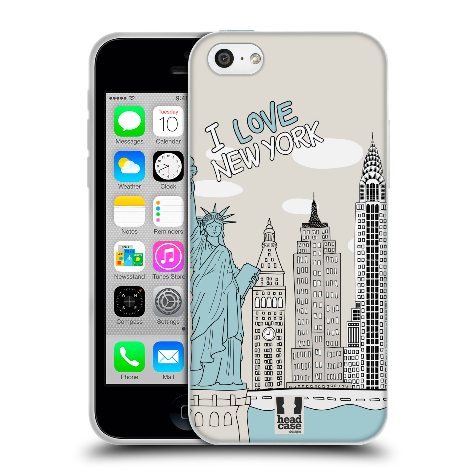 HEAD CASE silikonový obal na mobil Apple Iphone 5C vzor Kreslená městečka MODRÁ, USA, New York, I LOVE NEW YORK