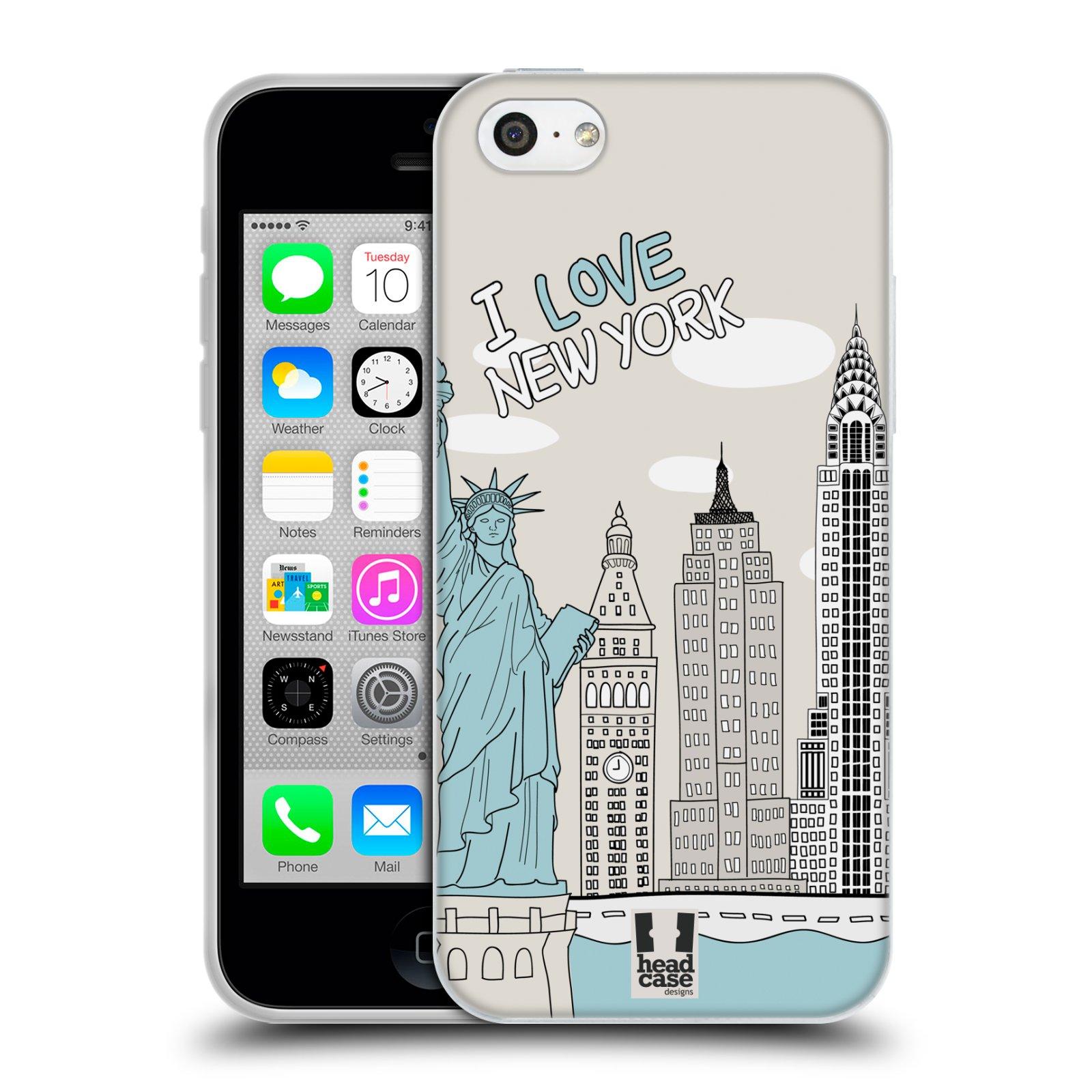 HEAD CASE silikonový obal na mobil Apple Iphone 5C vzor Kreslená městečka MODRÁ, USA, New York, I LOVE NEW YORK