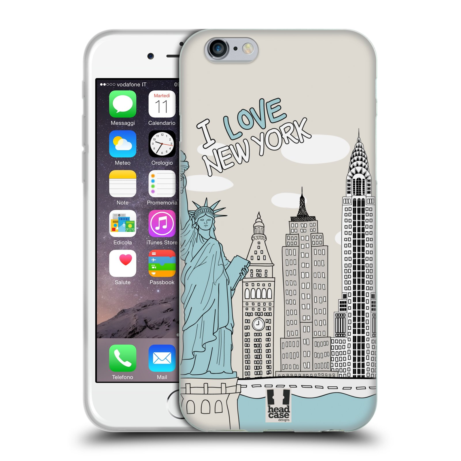 HEAD CASE silikonový obal na mobil Apple Iphone 6/6S vzor Kreslená městečka MODRÁ, USA, New York, I LOVE NEW YORK