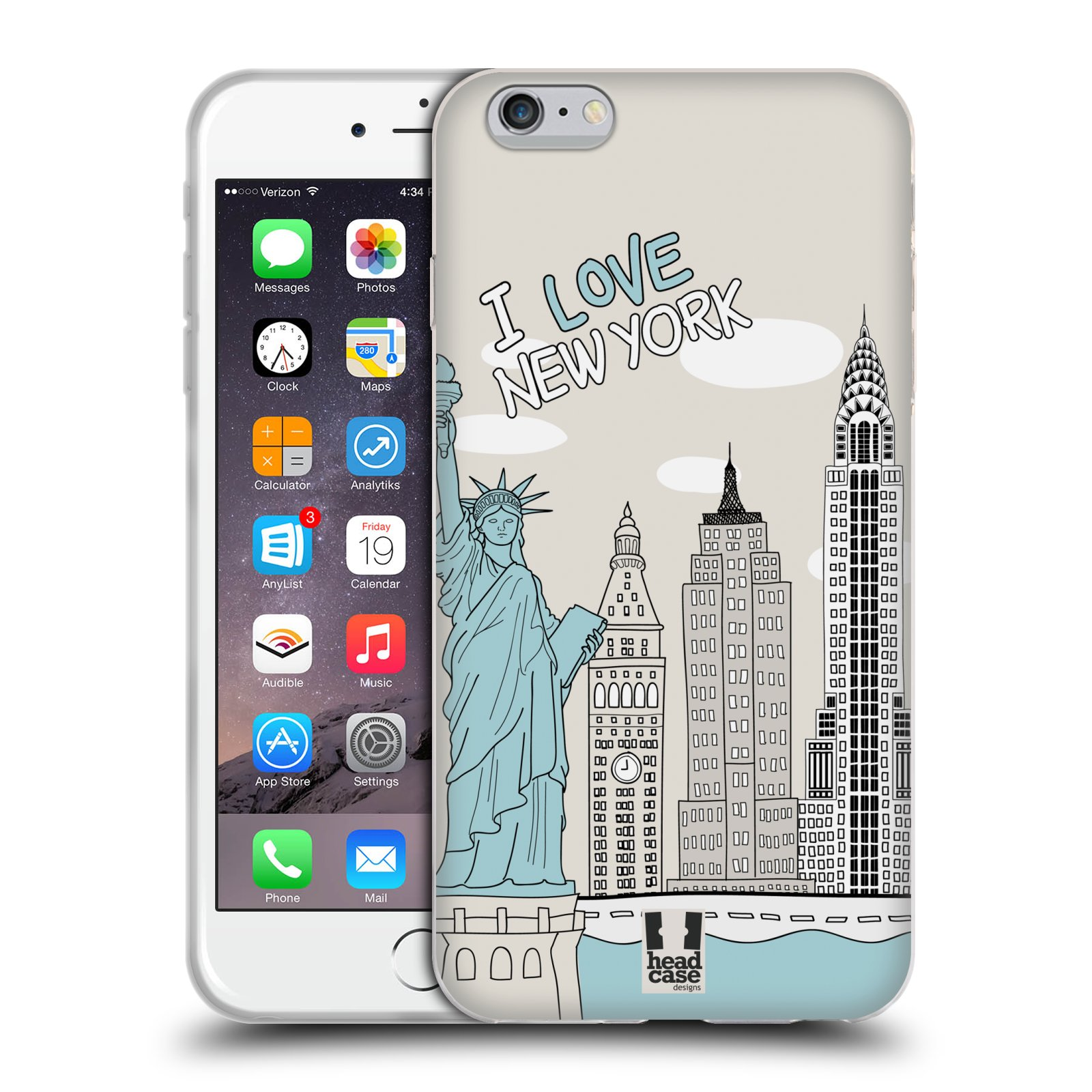 HEAD CASE silikonový obal na mobil Apple Iphone 6 PLUS/ 6S PLUS vzor Kreslená městečka MODRÁ, USA, New York, I LOVE NEW YORK
