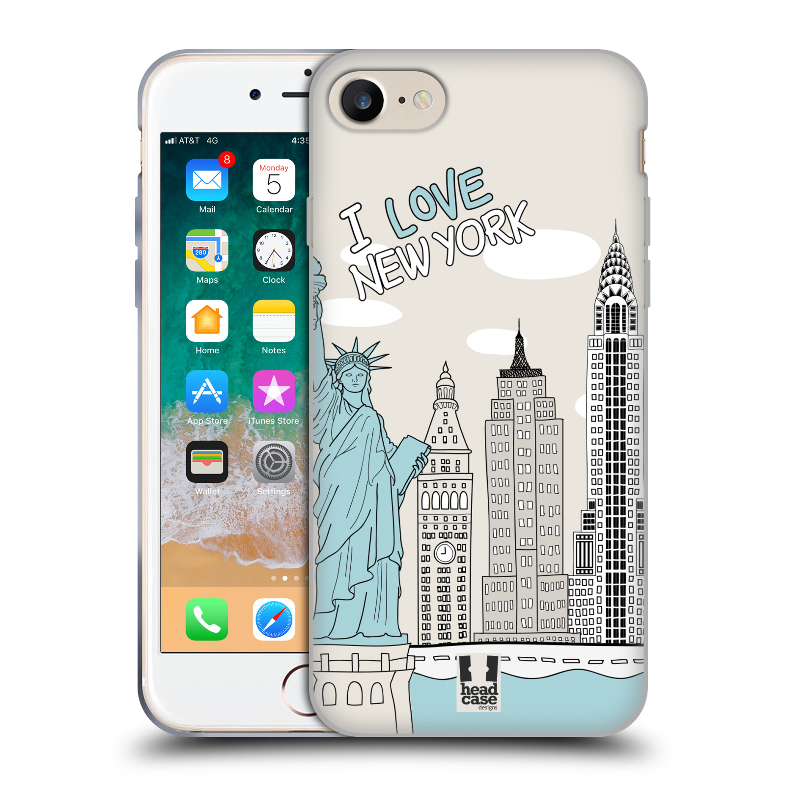 HEAD CASE silikonový obal na mobil Apple Iphone 7 vzor Kreslená městečka MODRÁ, USA, New York, I LOVE NEW YORK