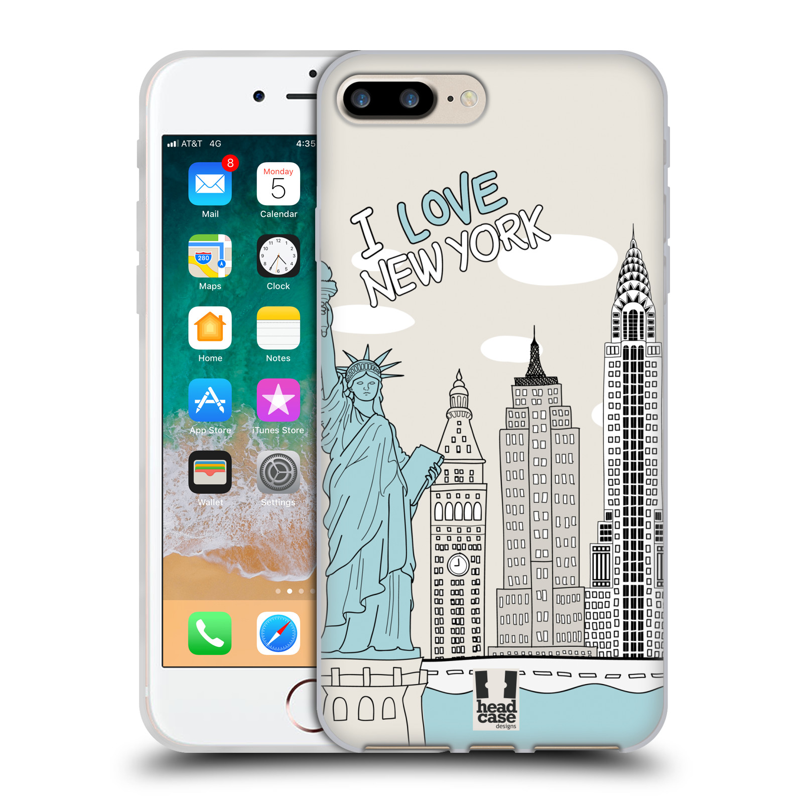 HEAD CASE silikonový obal na mobil Apple Iphone 7 PLUS vzor Kreslená městečka MODRÁ, USA, New York, I LOVE NEW YORK