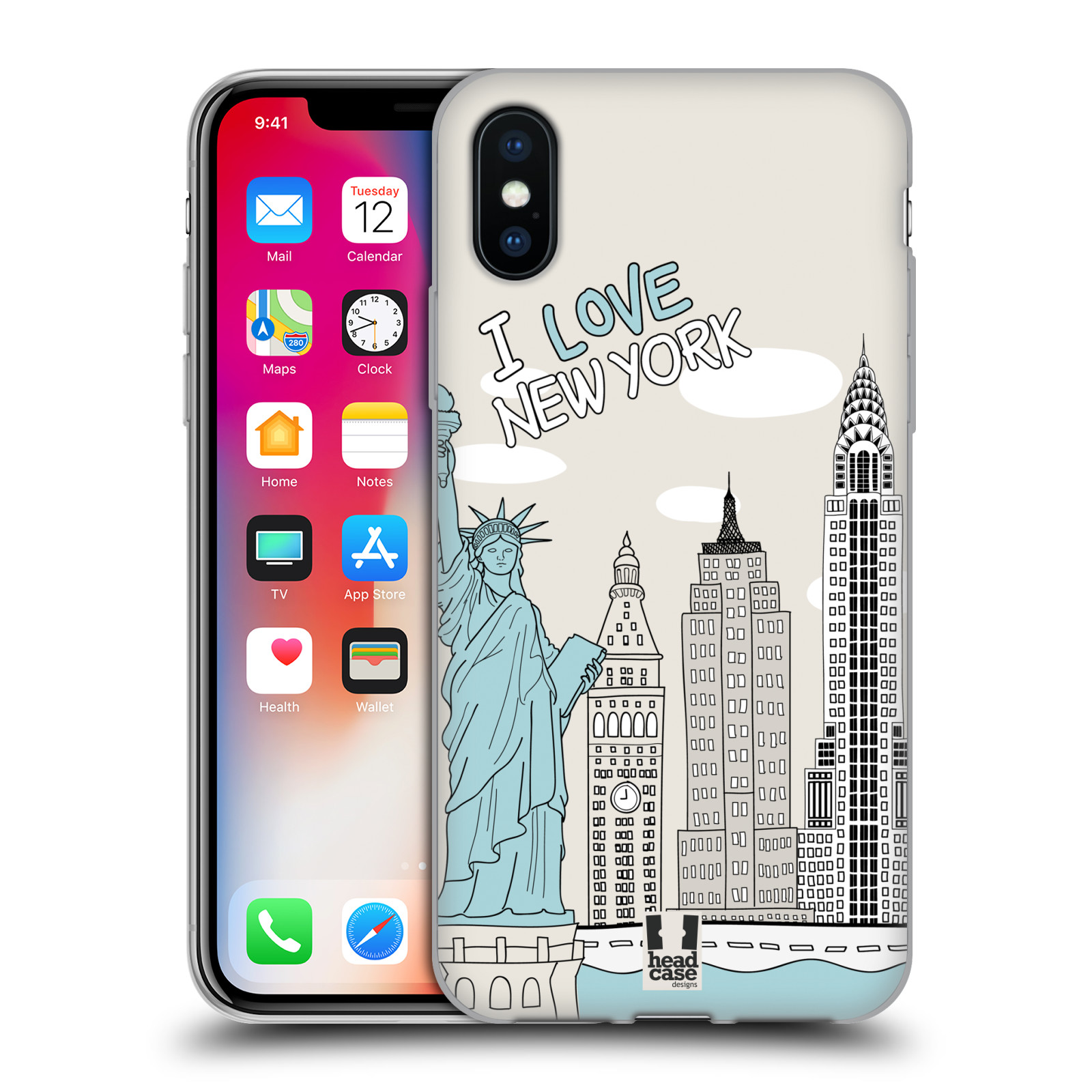 HEAD CASE silikonový obal na mobil Apple Iphone X vzor Kreslená městečka MODRÁ, USA, New York, I LOVE NEW YORK