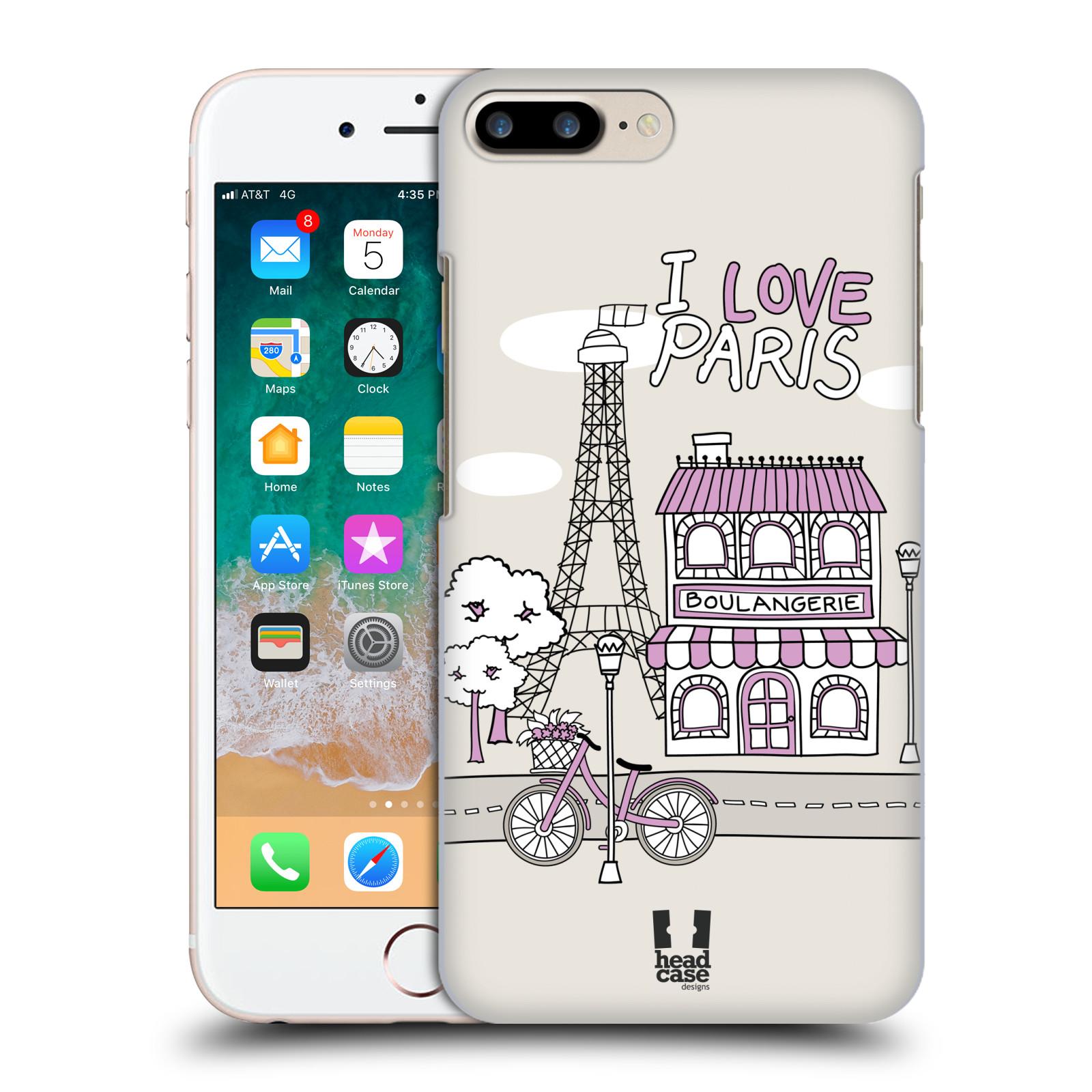 HEAD CASE plastový obal na mobil Apple Iphone 7 PLUS vzor Kreslená městečka FIALOVÁ, Paříž, Francie, I LOVE PARIS