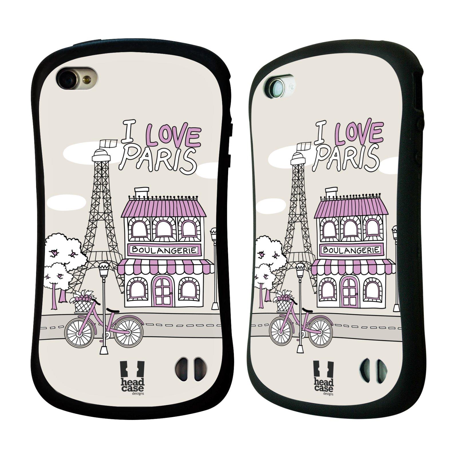 HEAD CASE silikon/plast odolný obal na mobil Apple Iphone 4/4S vzor Kreslená městečka FIALOVÁ, Paříž, Francie, I LOVE PARIS