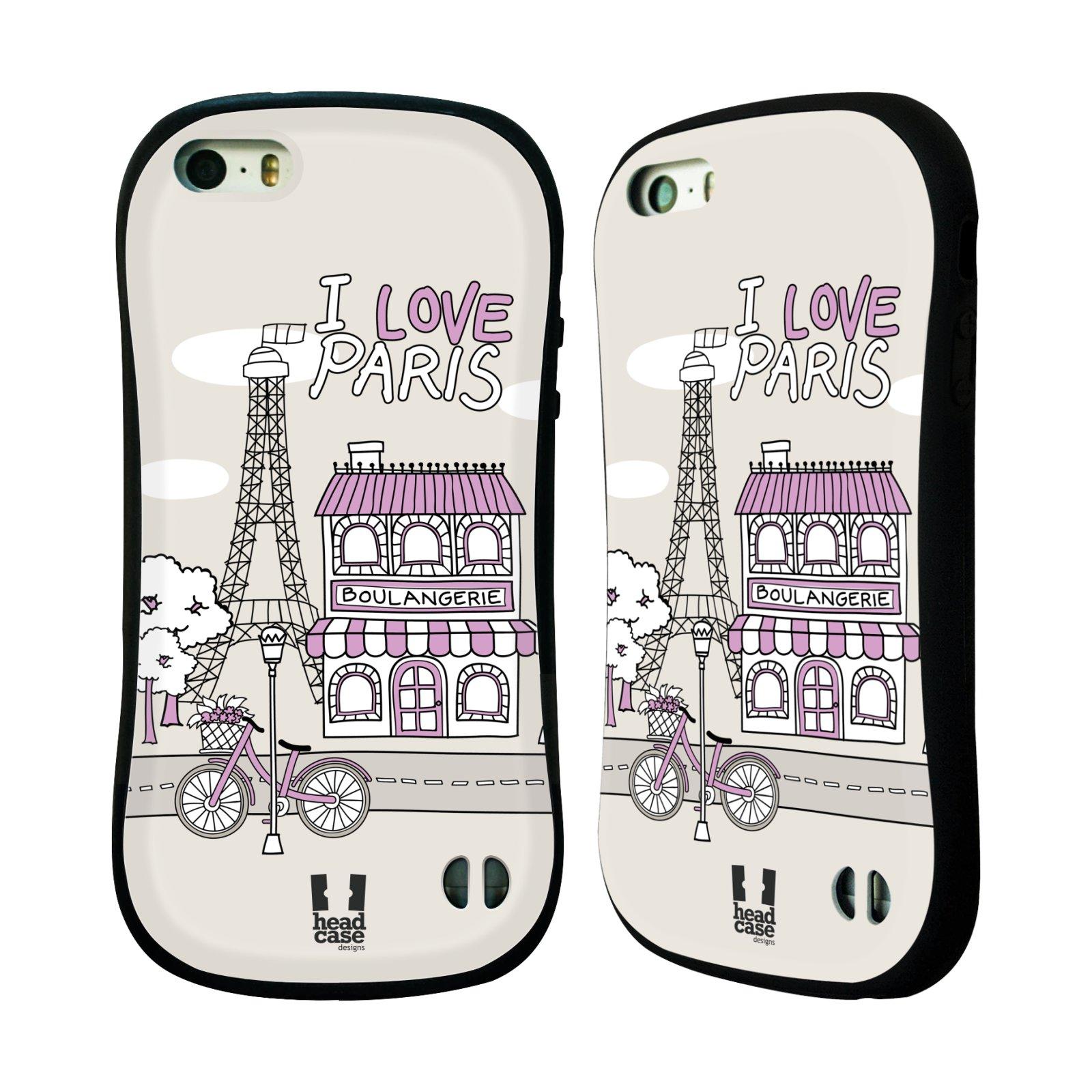 HEAD CASE silikon/plast odolný obal na mobil Apple Iphone 5/5S vzor Kreslená městečka FIALOVÁ, Paříž, Francie, I LOVE PARIS