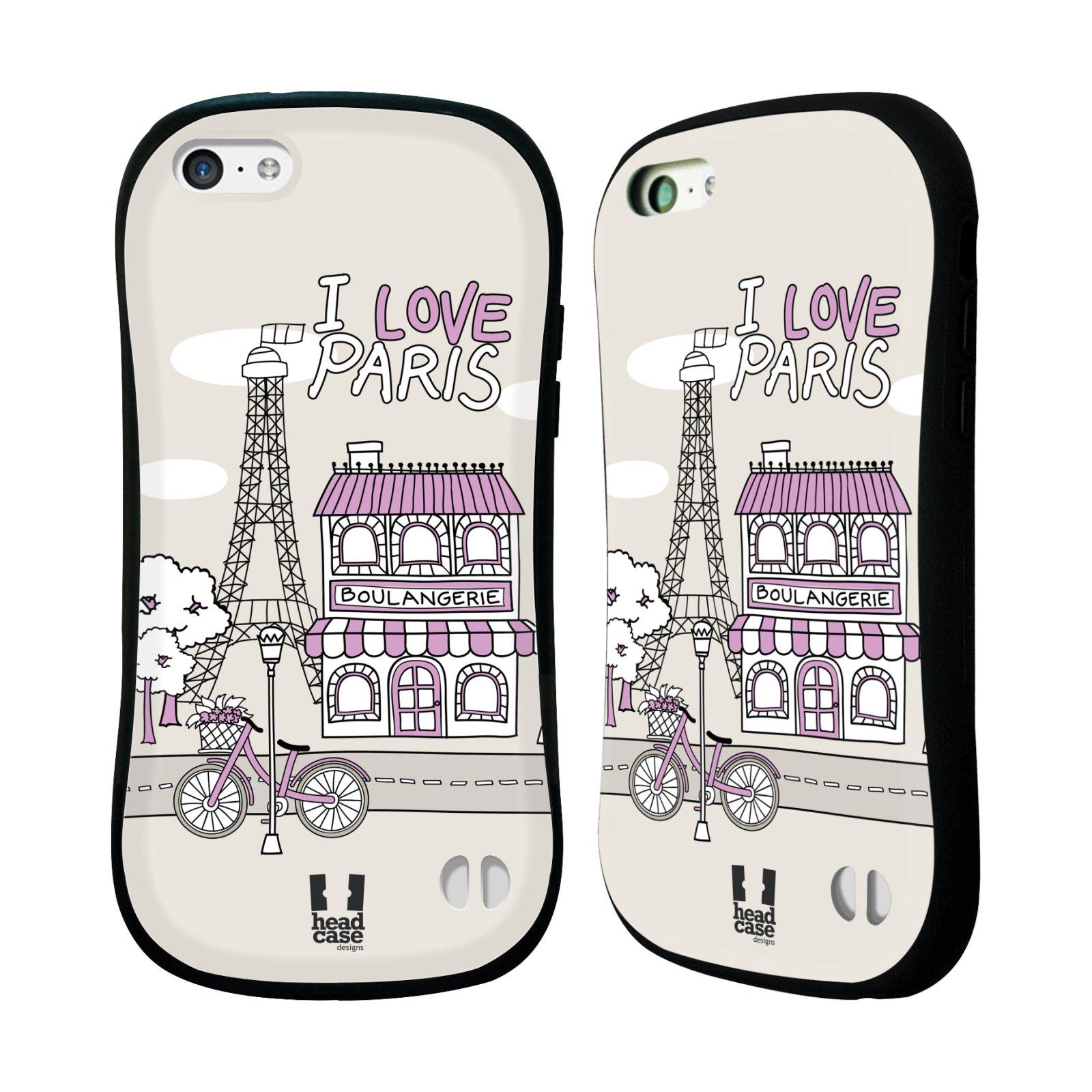 HEAD CASE silikon/plast odolný obal na mobil Apple Iphone 5C vzor Kreslená městečka FIALOVÁ, Paříž, Francie, I LOVE PARIS
