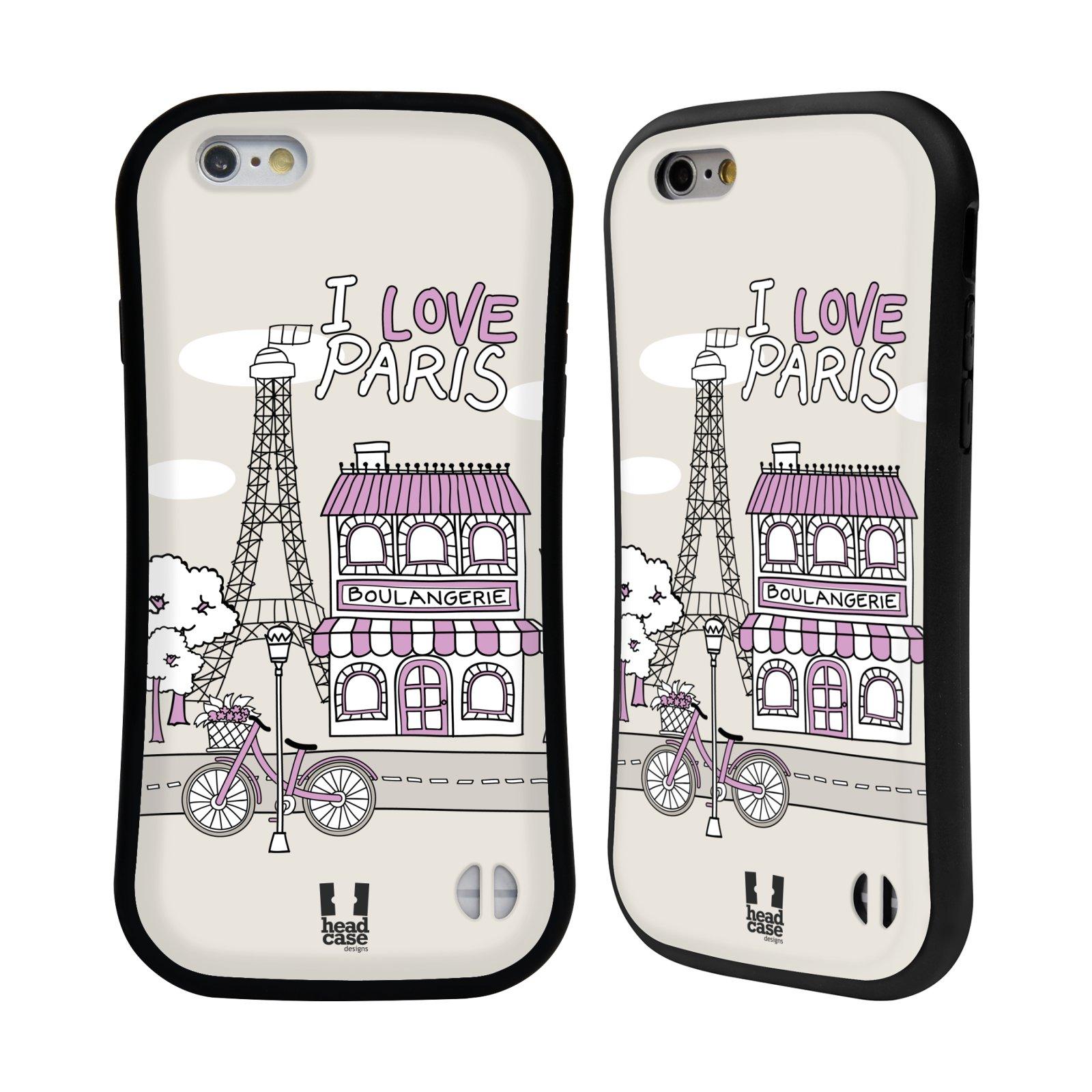 HEAD CASE silikon/plast odolný obal na mobil Apple Iphone 6/6S vzor Kreslená městečka FIALOVÁ, Paříž, Francie, I LOVE PARIS