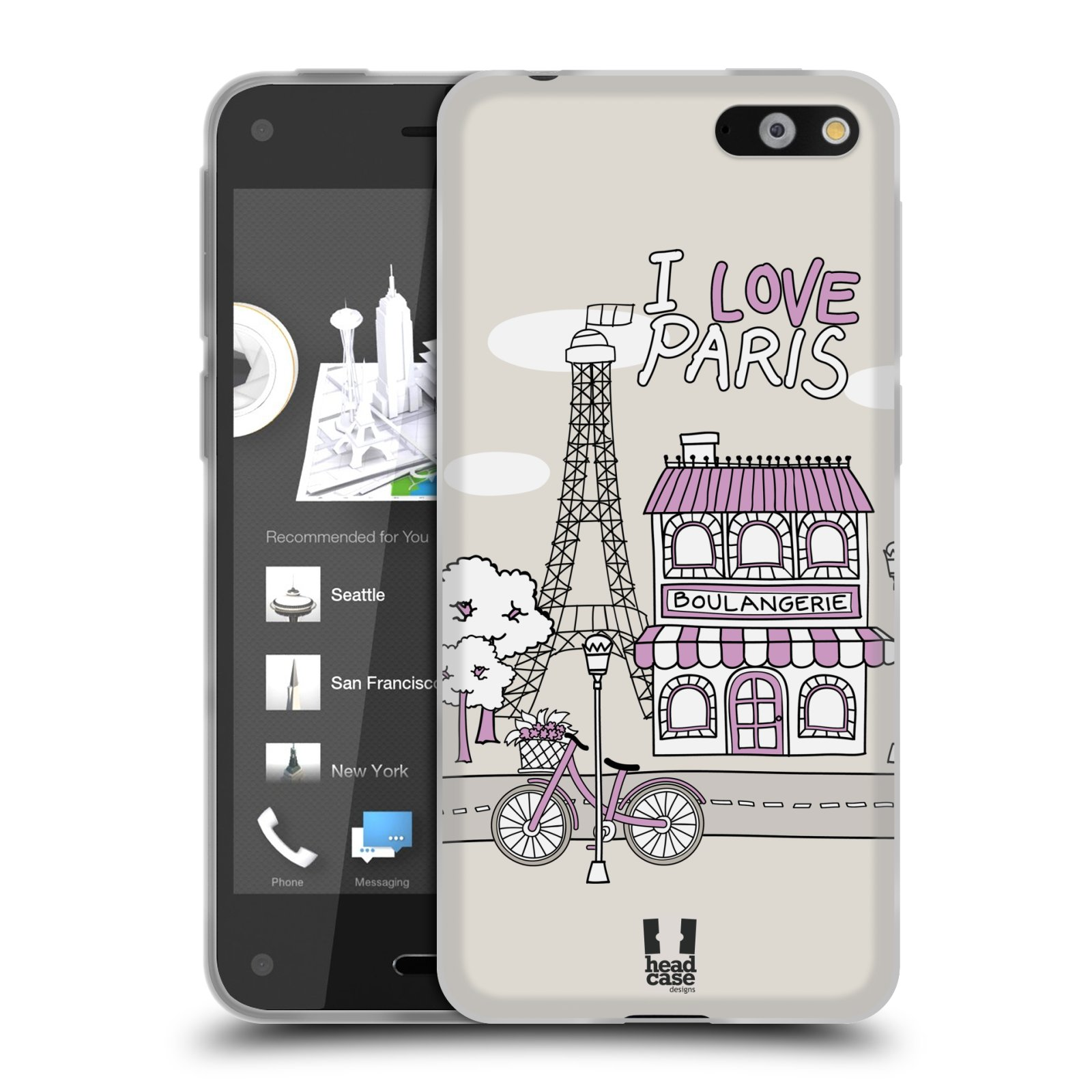 HEAD CASE silikonový obal na mobil AMAZON Fire Phone vzor Kreslená městečka FIALOVÁ, Paříž, Francie, I LOVE PARIS