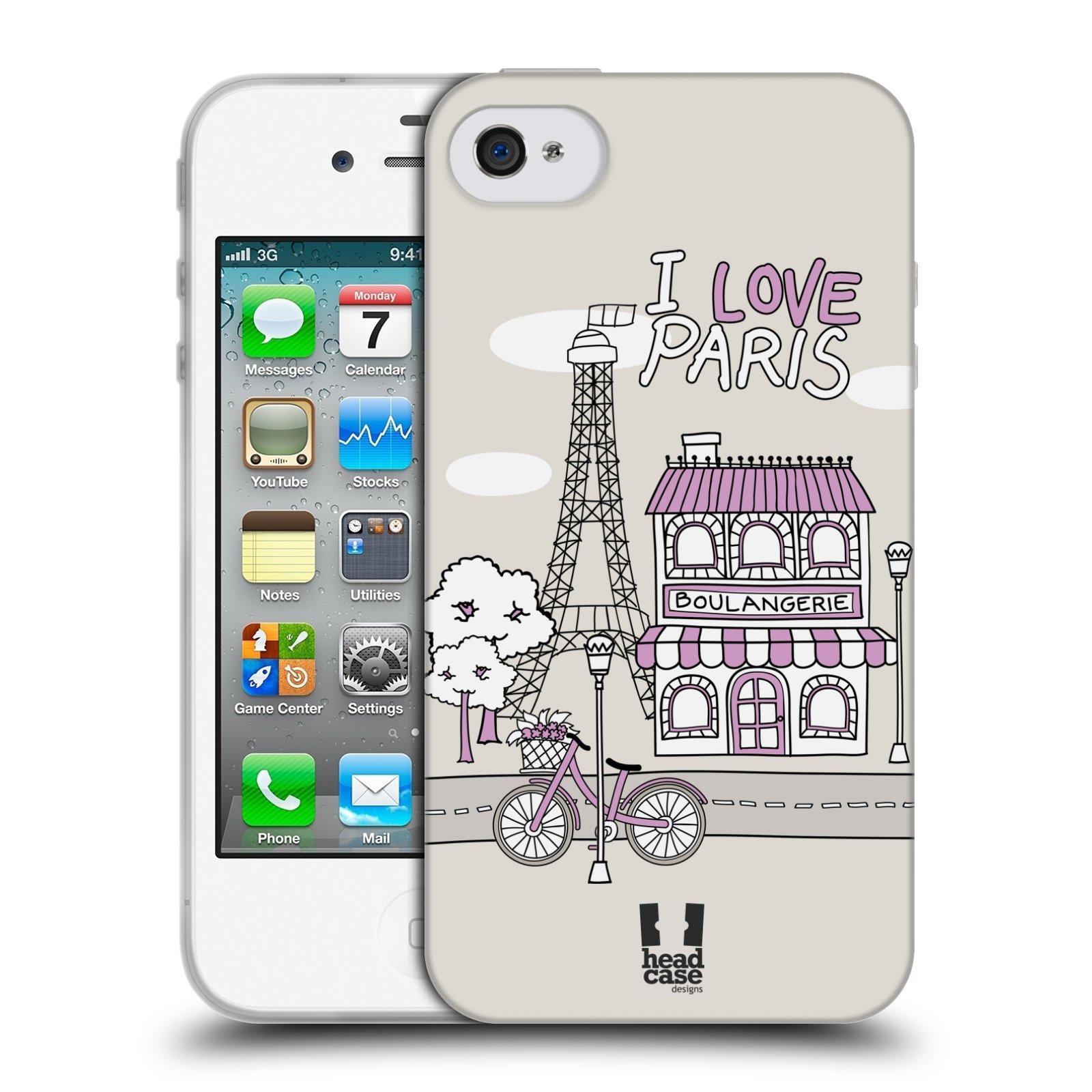 HEAD CASE silikonový obal na mobil Apple Iphone 4/4S vzor Kreslená městečka FIALOVÁ, Paříž, Francie, I LOVE PARIS