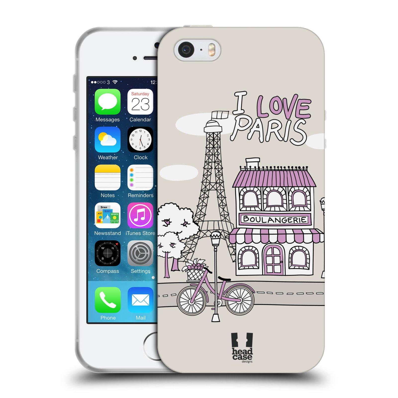 HEAD CASE silikonový obal na mobil Apple Iphone 5/5S vzor Kreslená městečka FIALOVÁ, Paříž, Francie, I LOVE PARIS