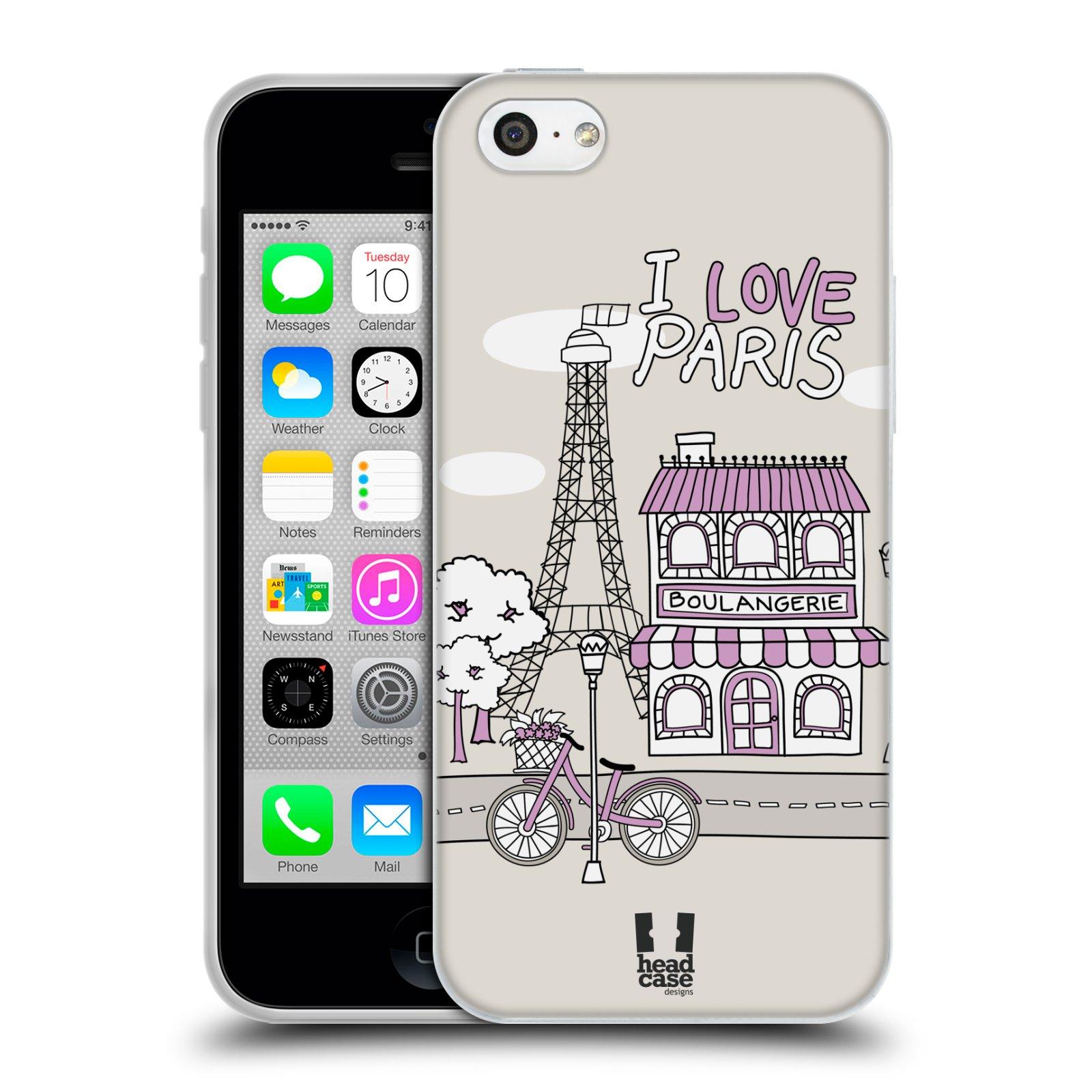 HEAD CASE silikonový obal na mobil Apple Iphone 5C vzor Kreslená městečka FIALOVÁ, Paříž, Francie, I LOVE PARIS