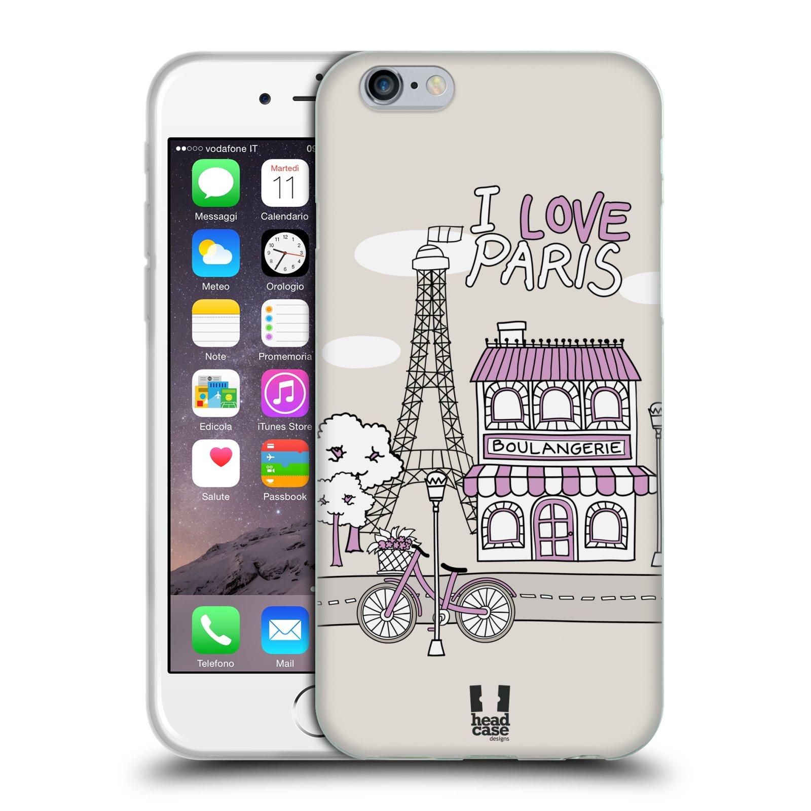 HEAD CASE silikonový obal na mobil Apple Iphone 6/6S vzor Kreslená městečka FIALOVÁ, Paříž, Francie, I LOVE PARIS
