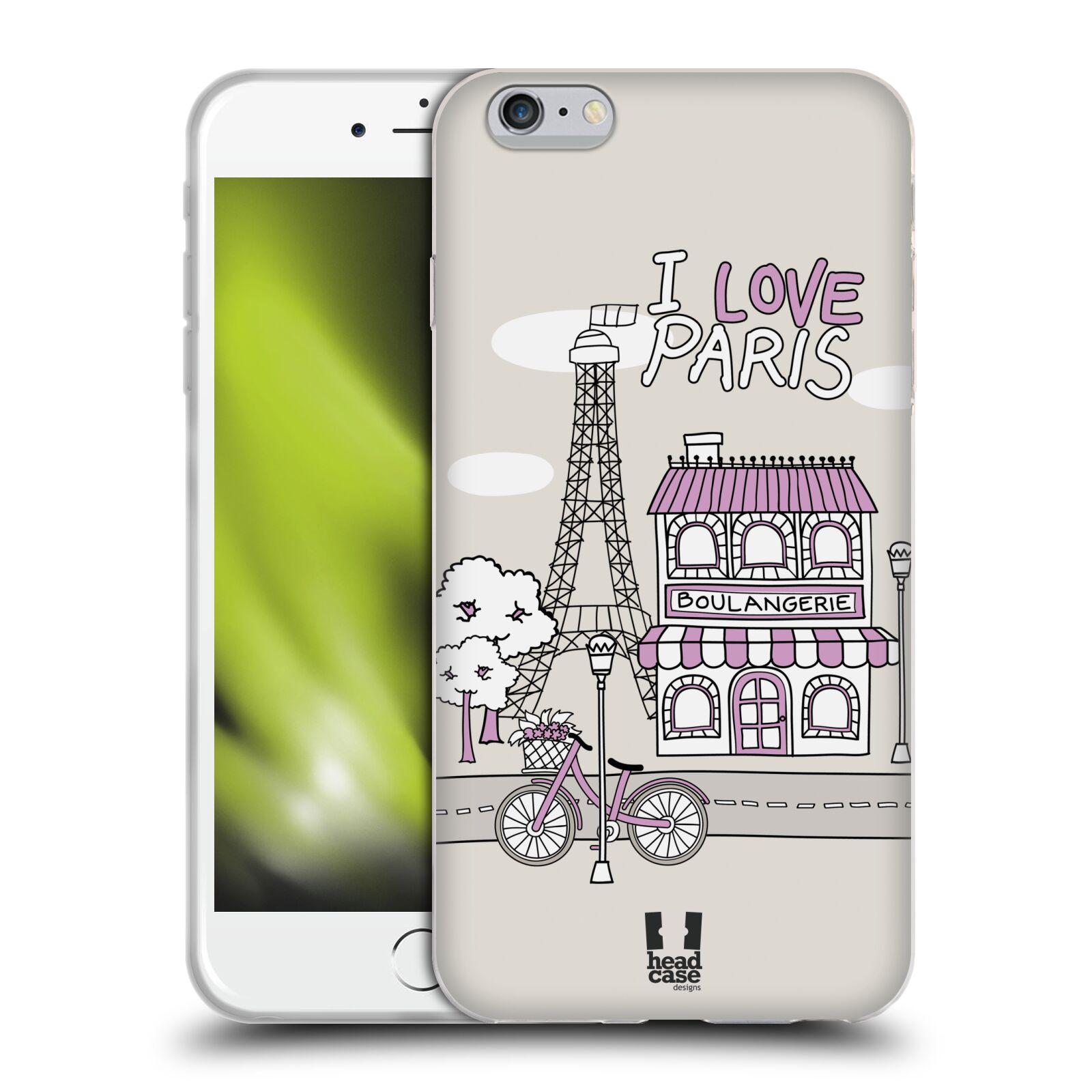 HEAD CASE silikonový obal na mobil Apple Iphone 6 PLUS/ 6S PLUS vzor Kreslená městečka FIALOVÁ, Paříž, Francie, I LOVE PARIS