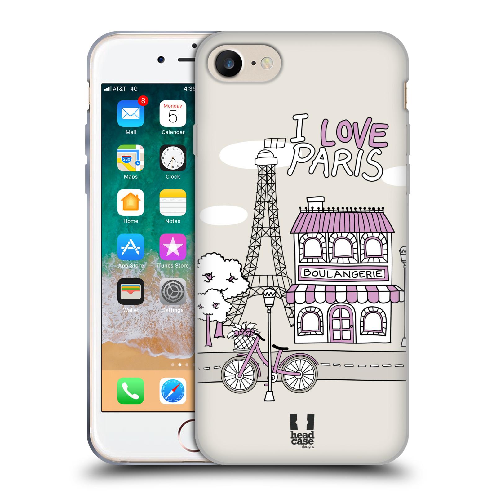 HEAD CASE silikonový obal na mobil Apple Iphone 7 vzor Kreslená městečka FIALOVÁ, Paříž, Francie, I LOVE PARIS