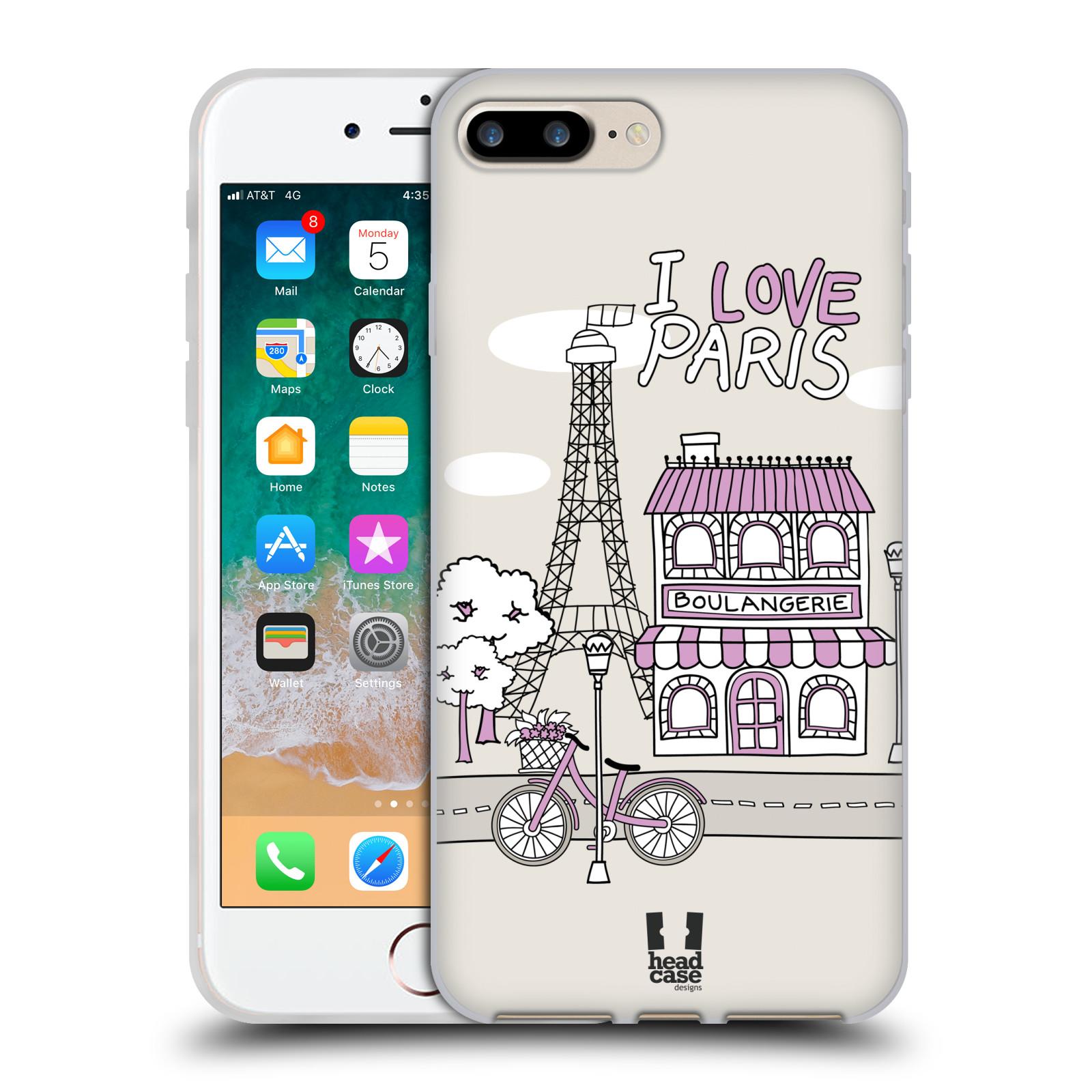 HEAD CASE silikonový obal na mobil Apple Iphone 7 PLUS vzor Kreslená městečka FIALOVÁ, Paříž, Francie, I LOVE PARIS
